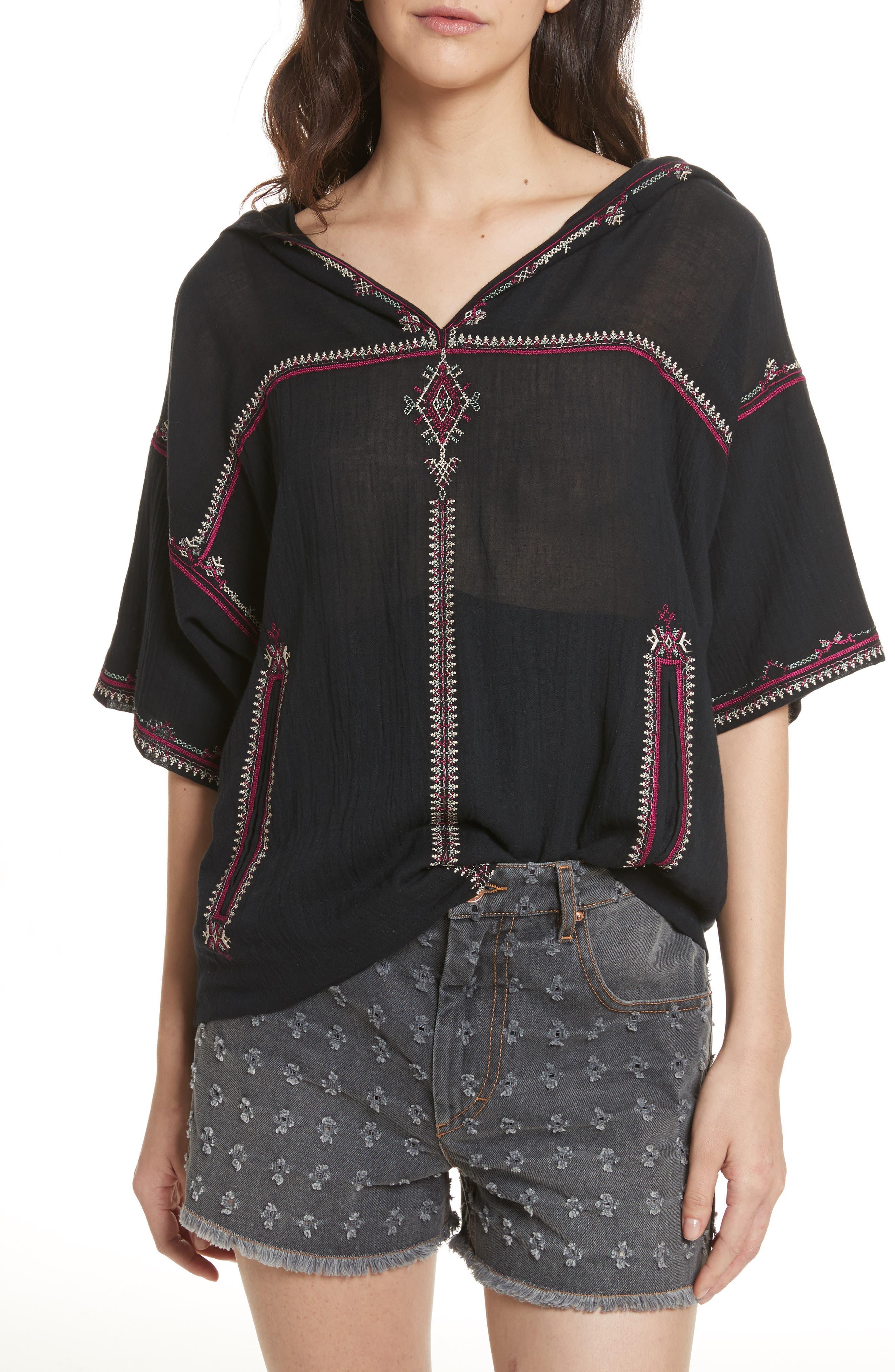 Isabel Marant Étoile Mekki Embroidered Cotton Top,                         Main,                         color, Black