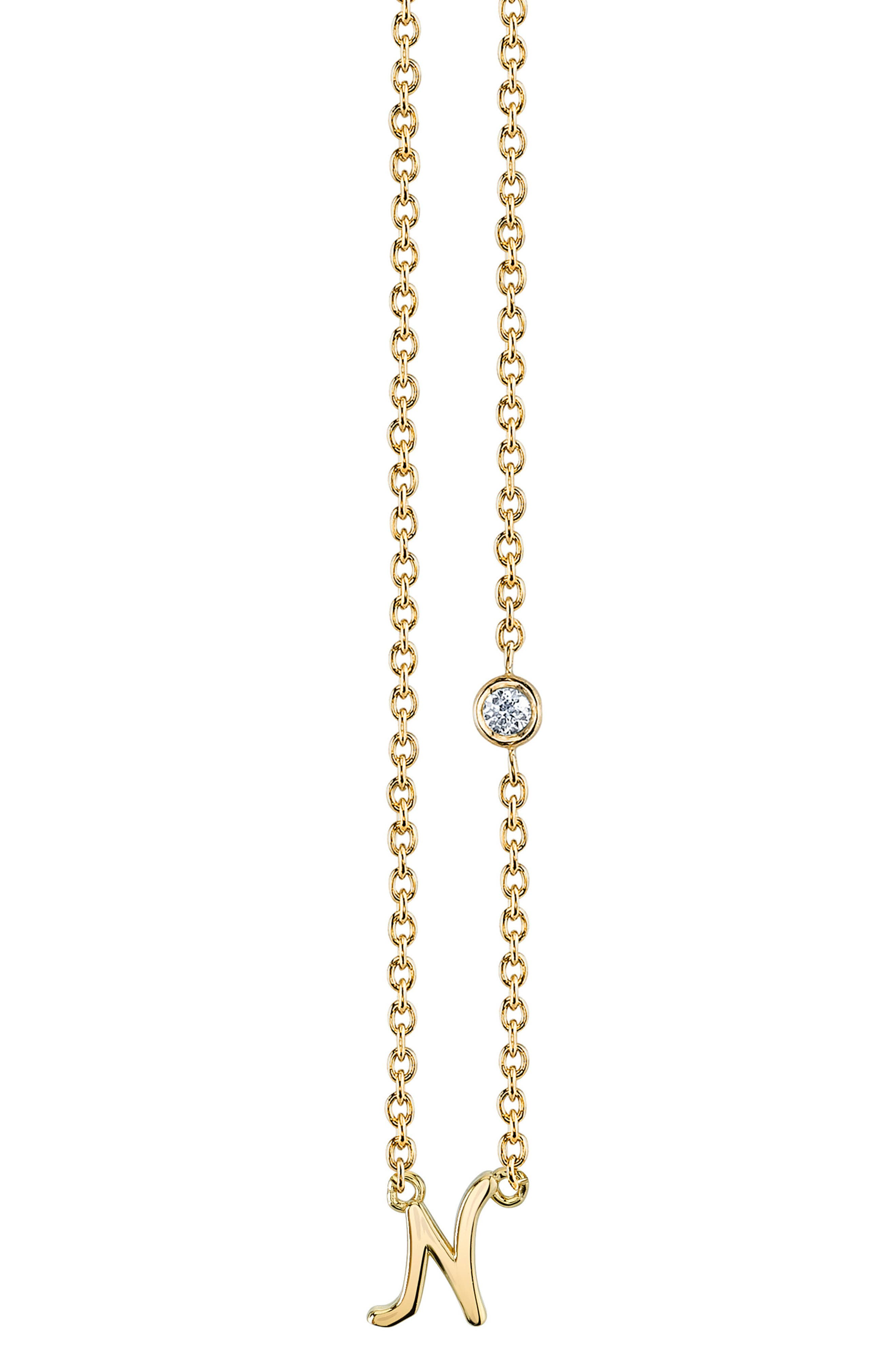 Shy by SE Diamond Initial Pendant Necklace