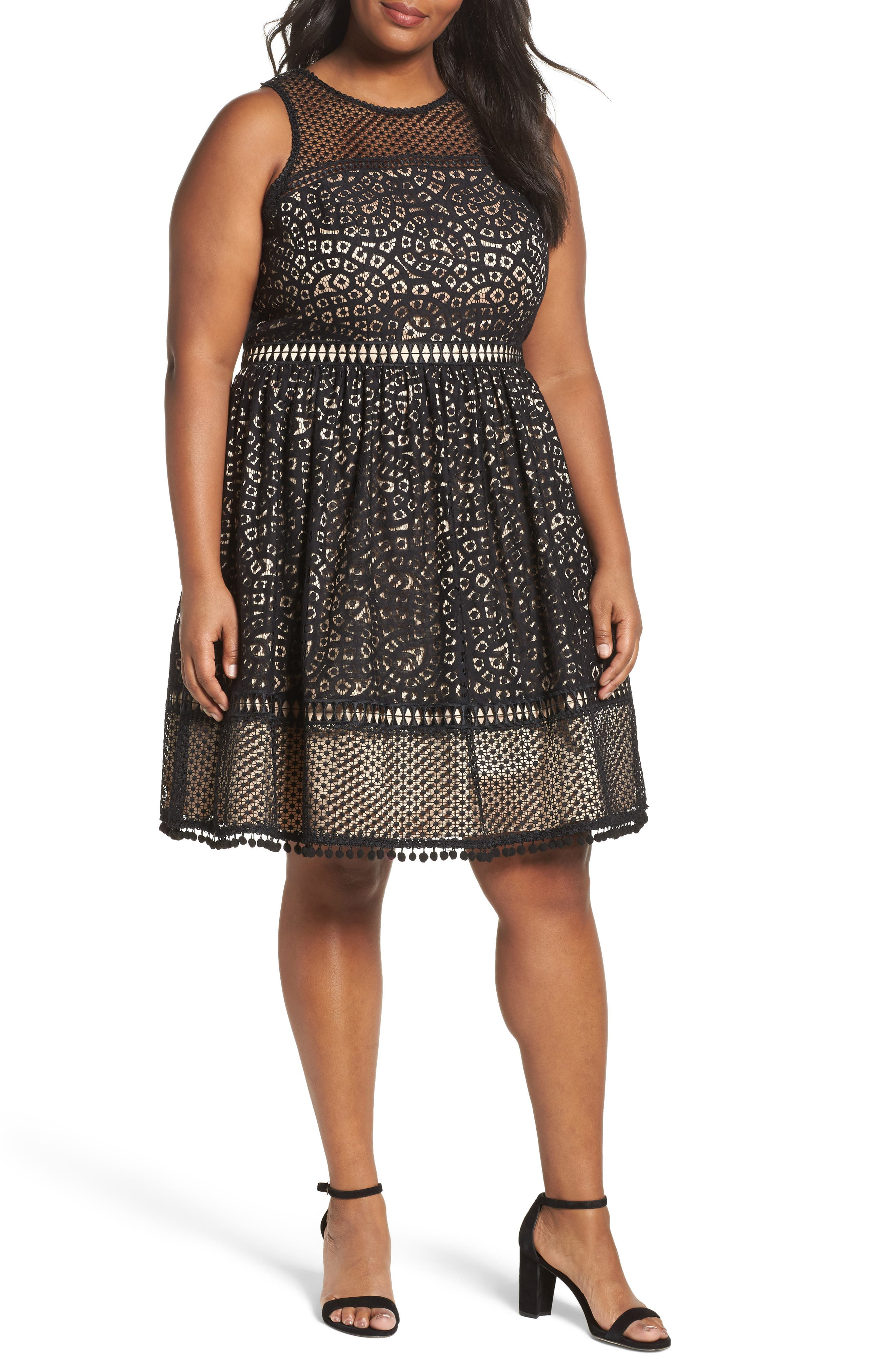 Sleeveless Lace Trim Fit & Flare Dress,                             Main thumbnail 1, color,                             Black