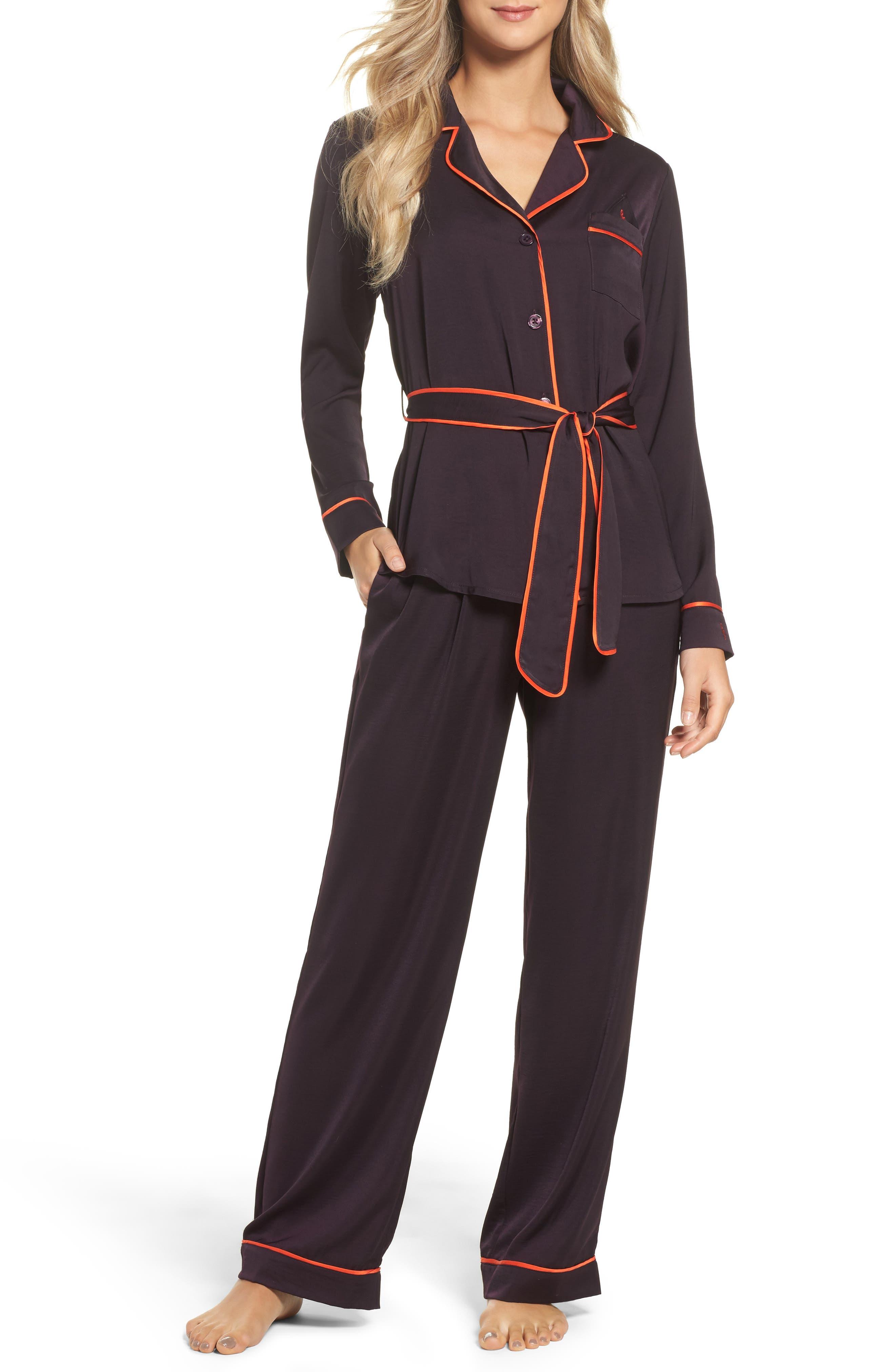 Belted Satin Pajamas,                         Main,                         color, Purple