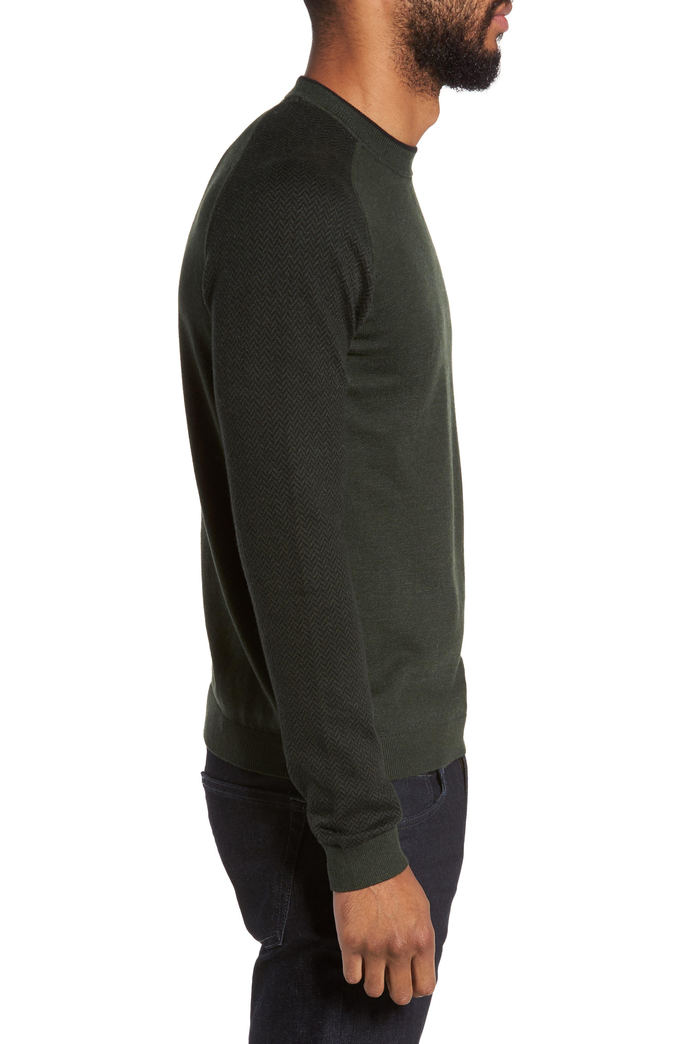 Pepmint Herringbone Sleeve Sweatshirt,                             Alternate thumbnail 3, color,                             Khaki
