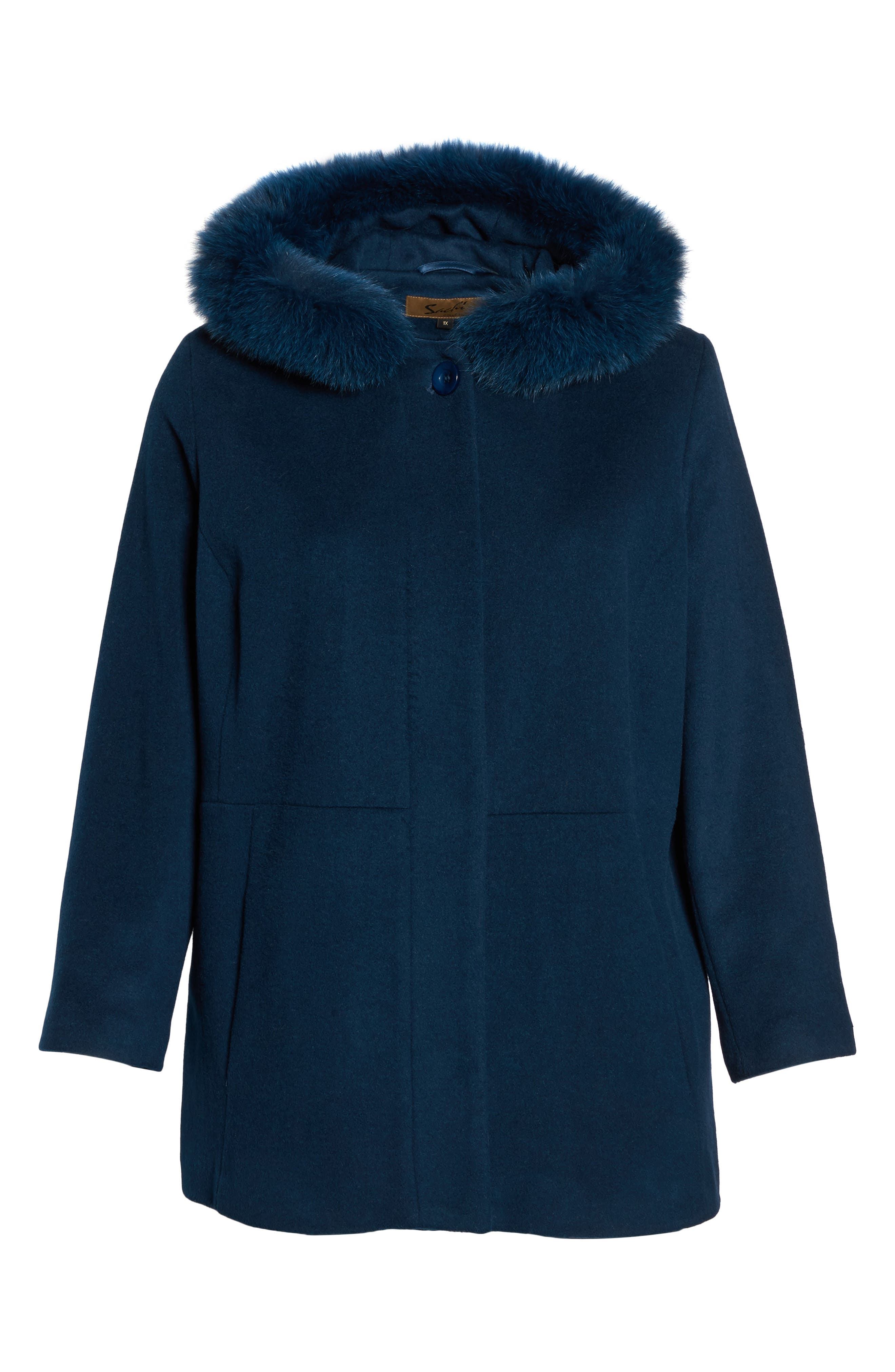 Alternate Image 6  - Sachi Genuine Fox Fur Trim Hooded Wool Blend Jacket (Plus Size)