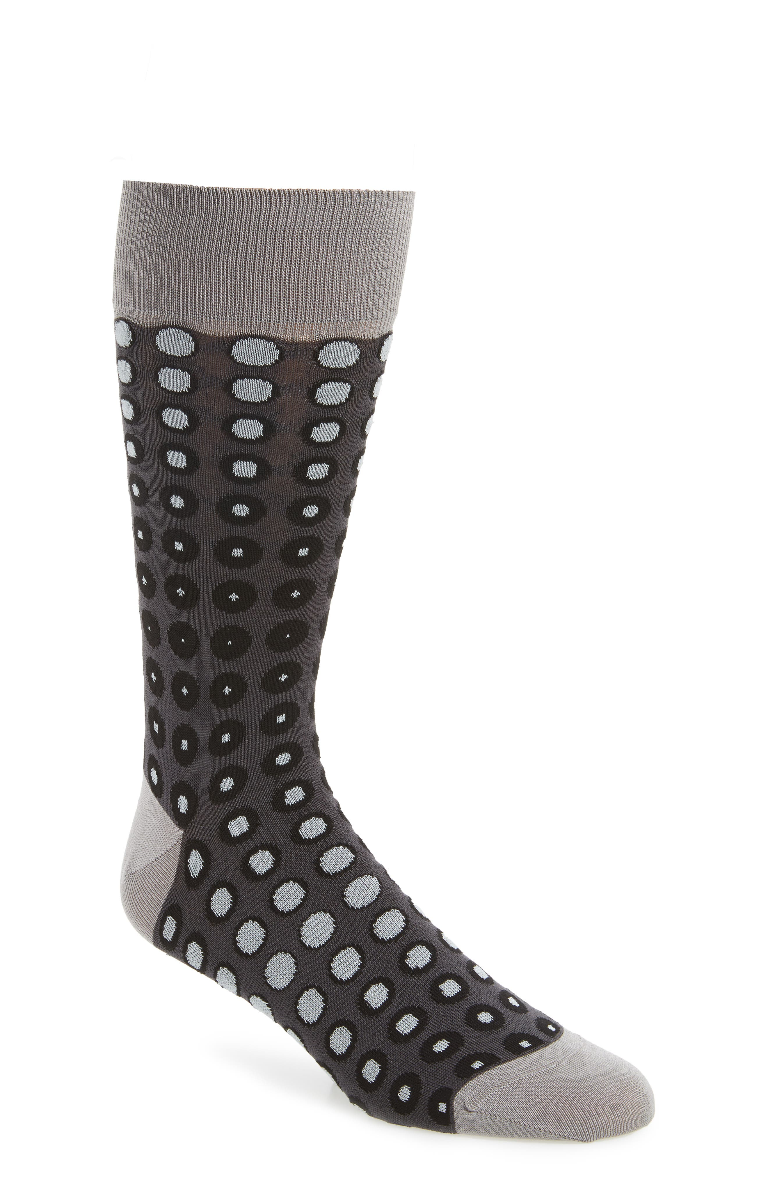 Dot Socks,                             Main thumbnail 1, color,                             Steel