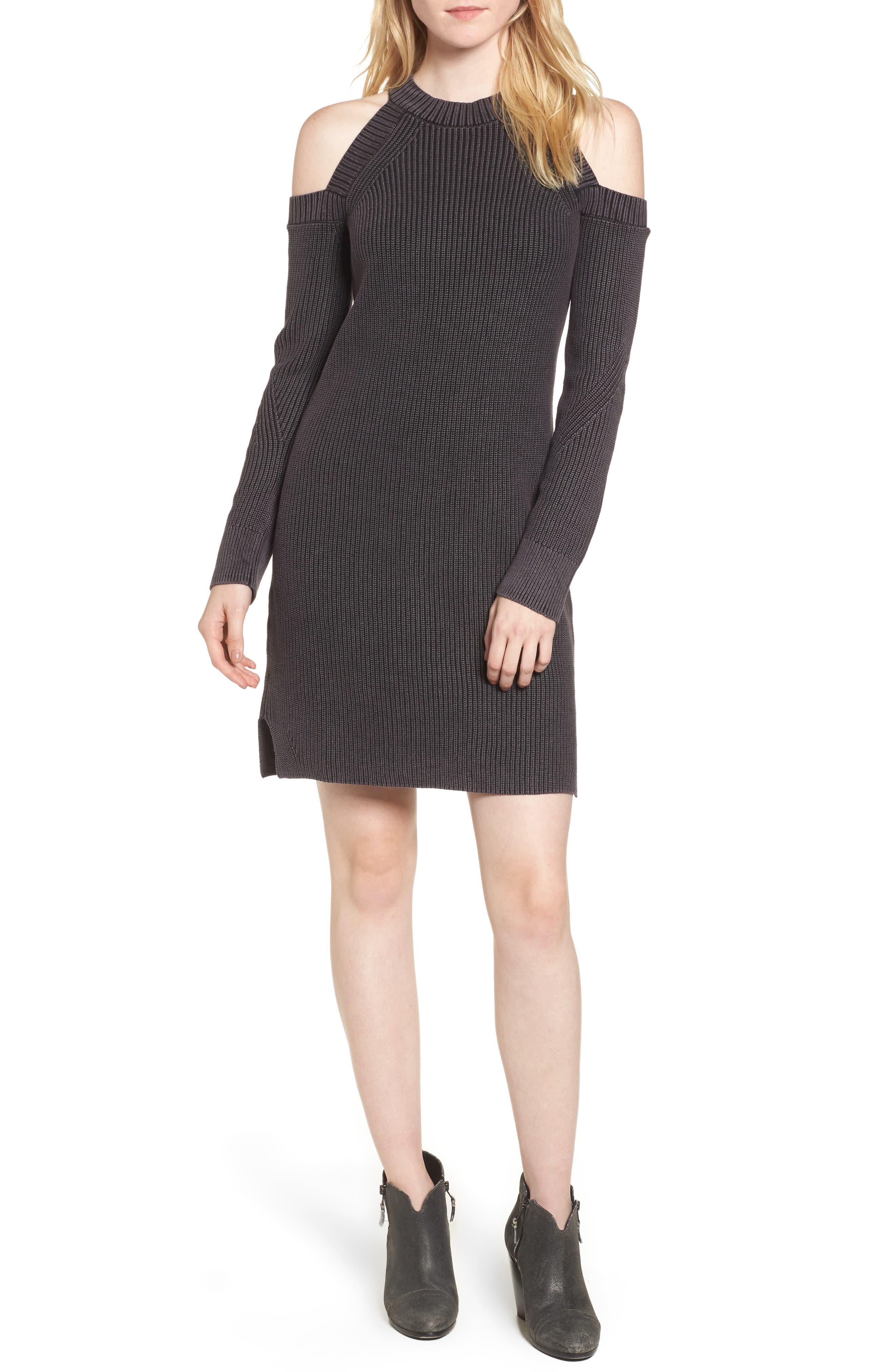 Dana Cold Shoulder Sweater Dress,                         Main,                         color, Black