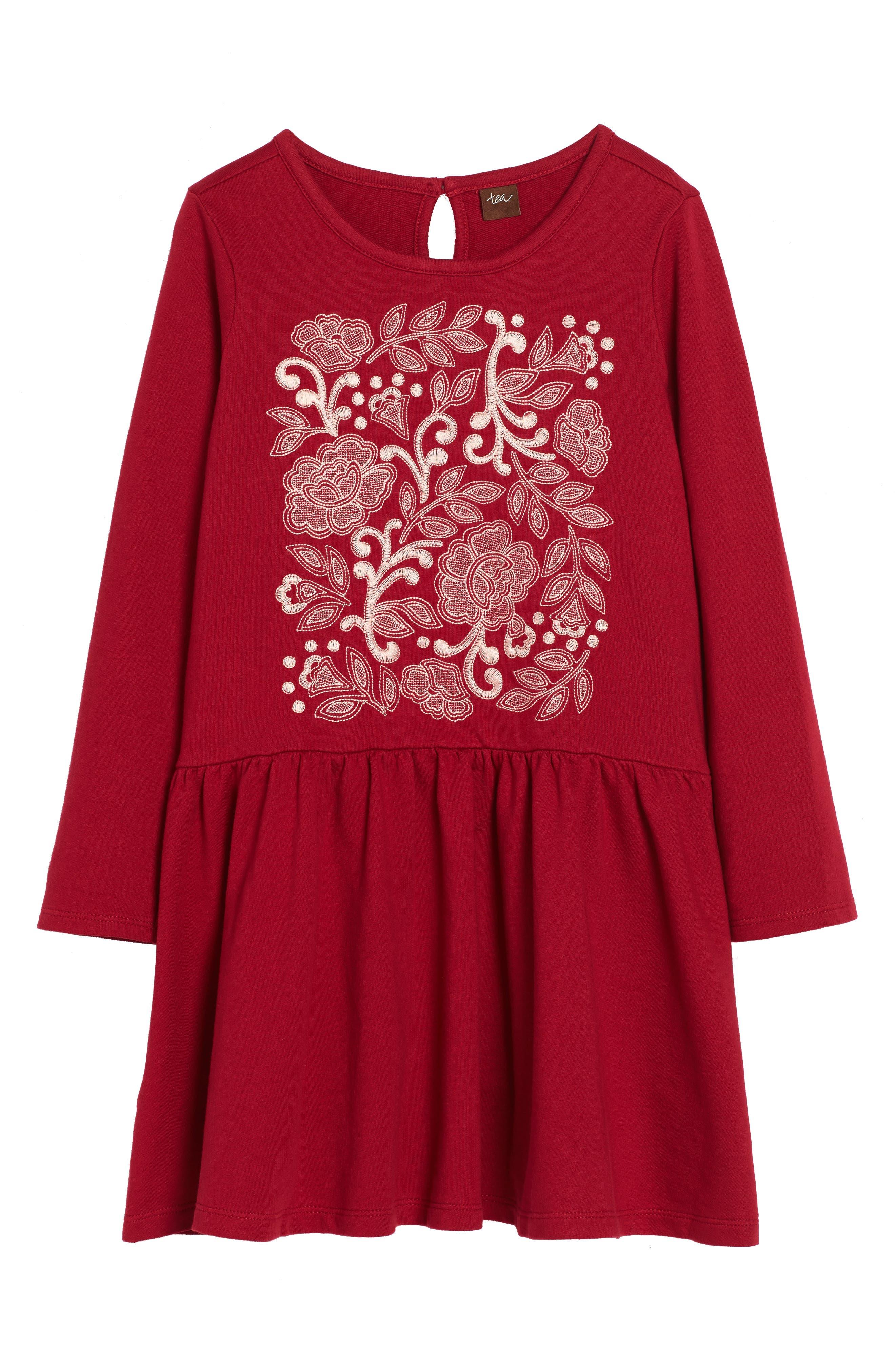 Main Image - Tea Collection Feather & Fan Embroidered Drop Waist Dress (Toddler Girls, Little Girls & Big Girls)