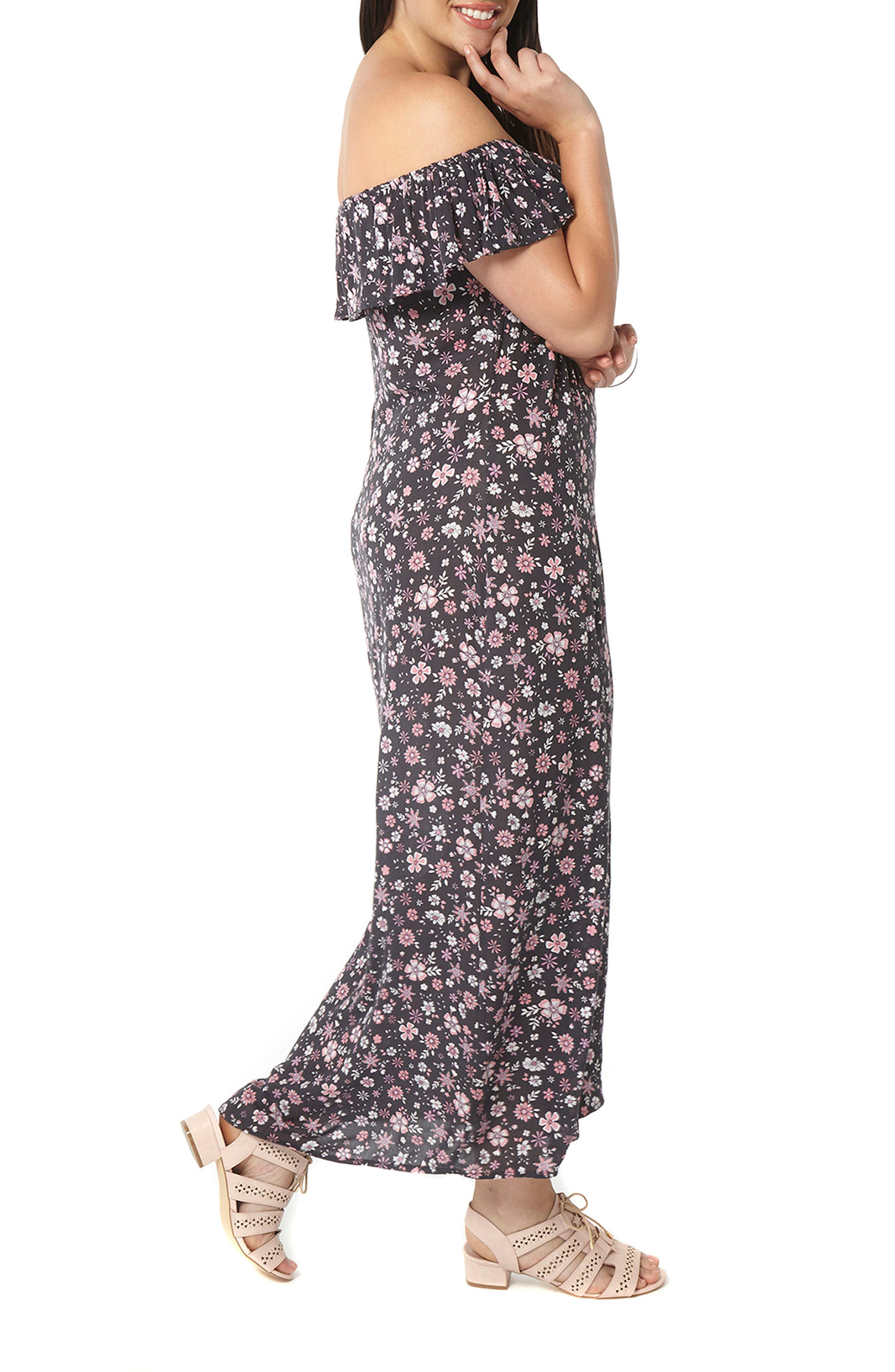 Alternate Image 1 Selected - Evans Ditsy Floral Convertible Maxi Dress (Plus Size)
