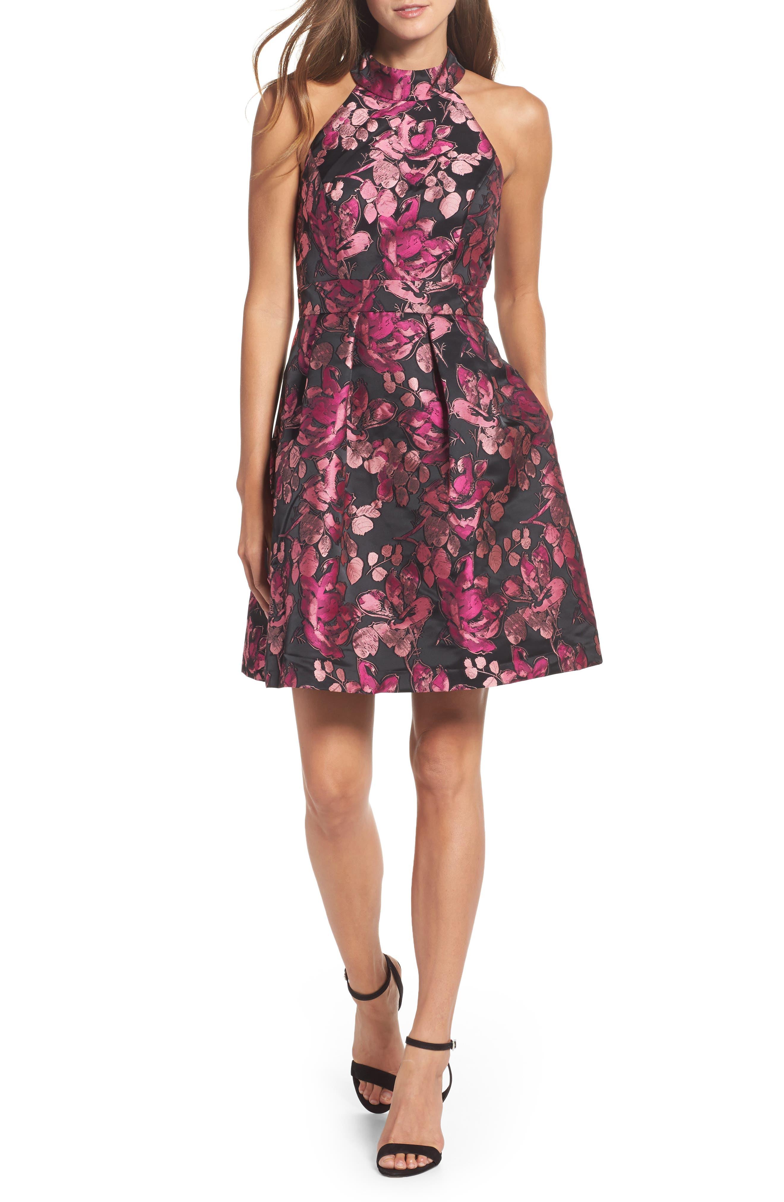 Main Image - Eliza J Floral Halter Fit & Flare Dress (Regular & Petite)