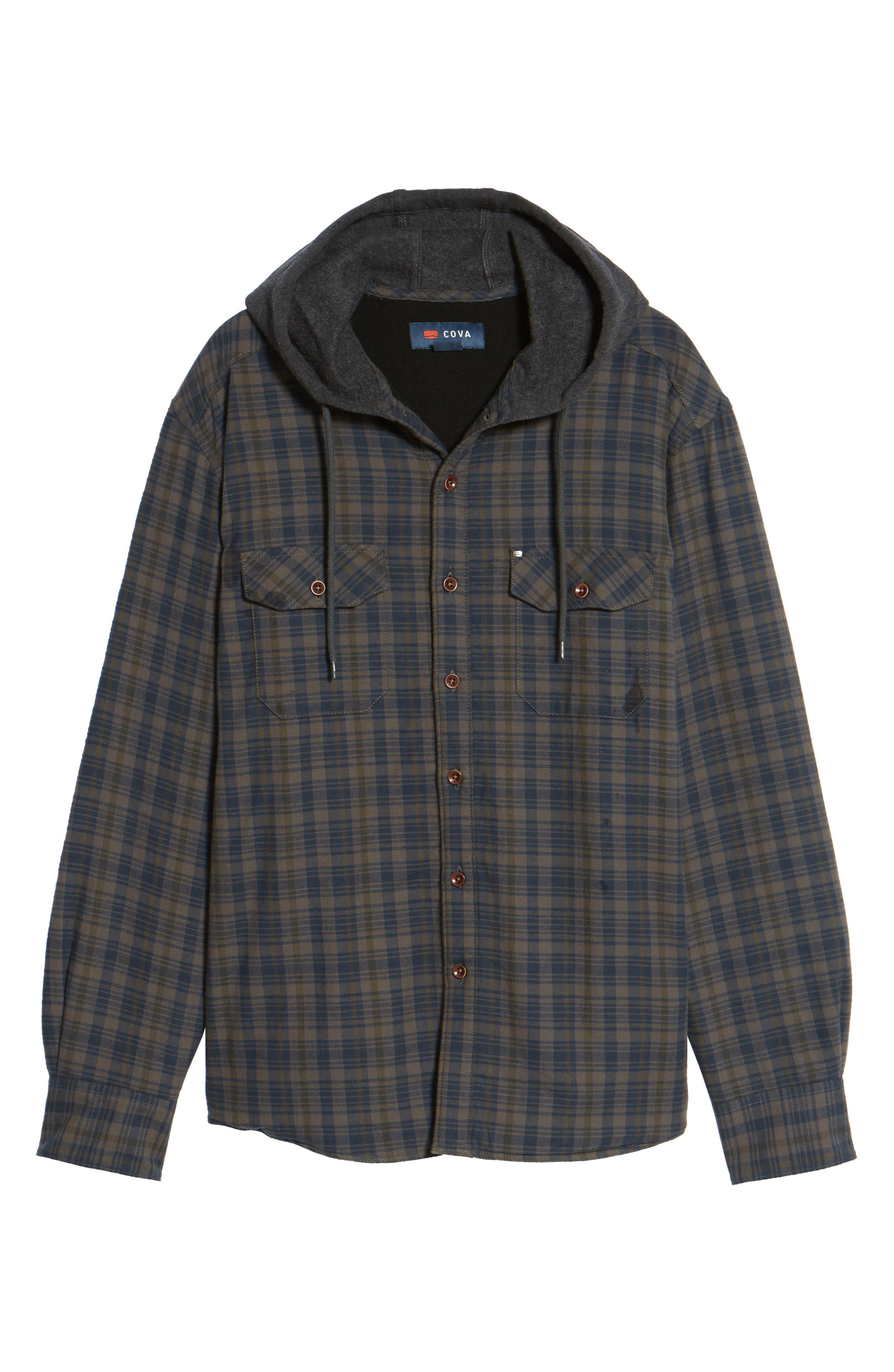 Hooded Plaid Flannel Shirt Jacket,                             Alternate thumbnail 6, color,                             Oak