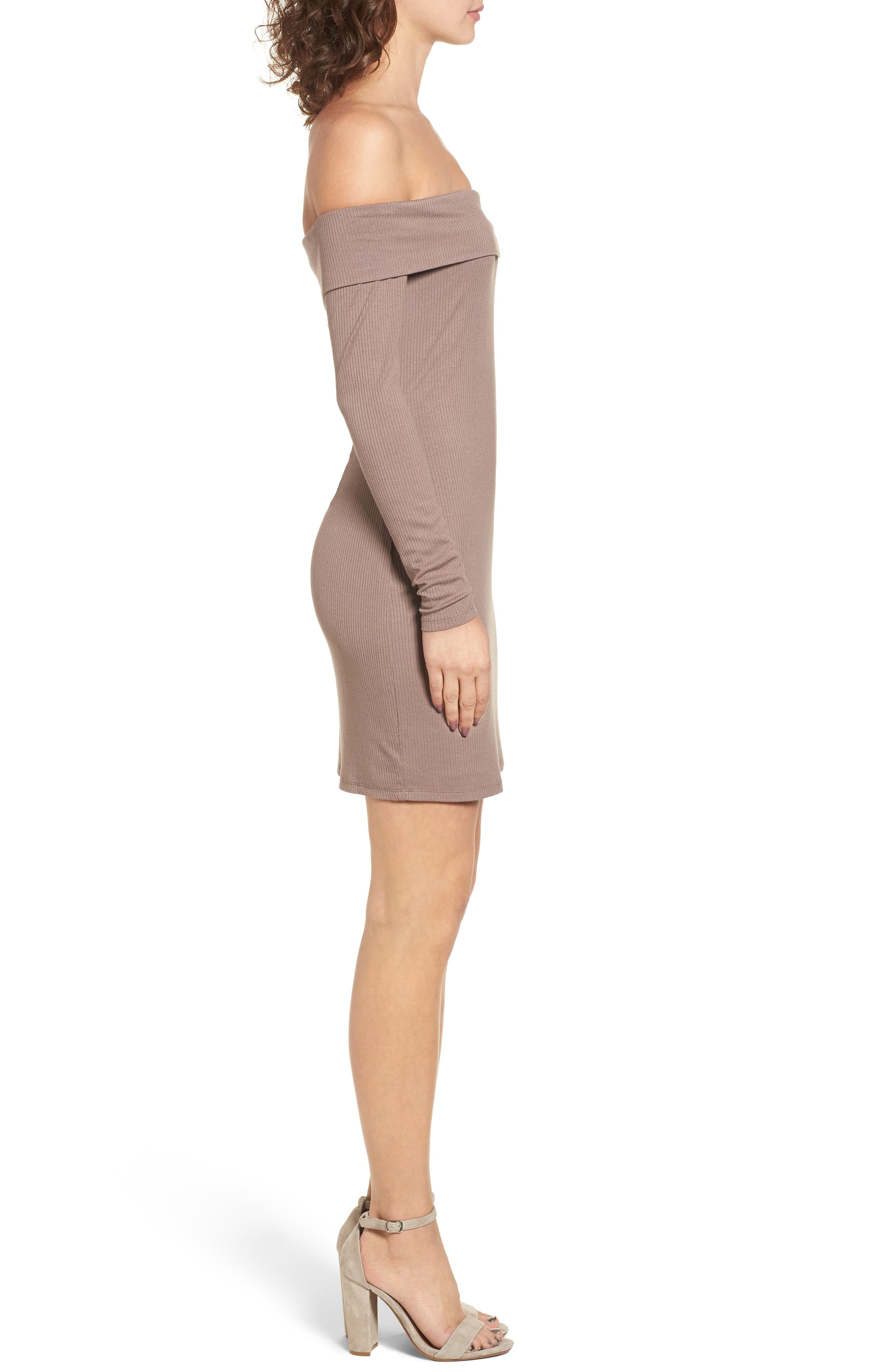 Silas Off the Shoulder Body-Con Dress,                             Alternate thumbnail 3, color,                             Warm Taupe