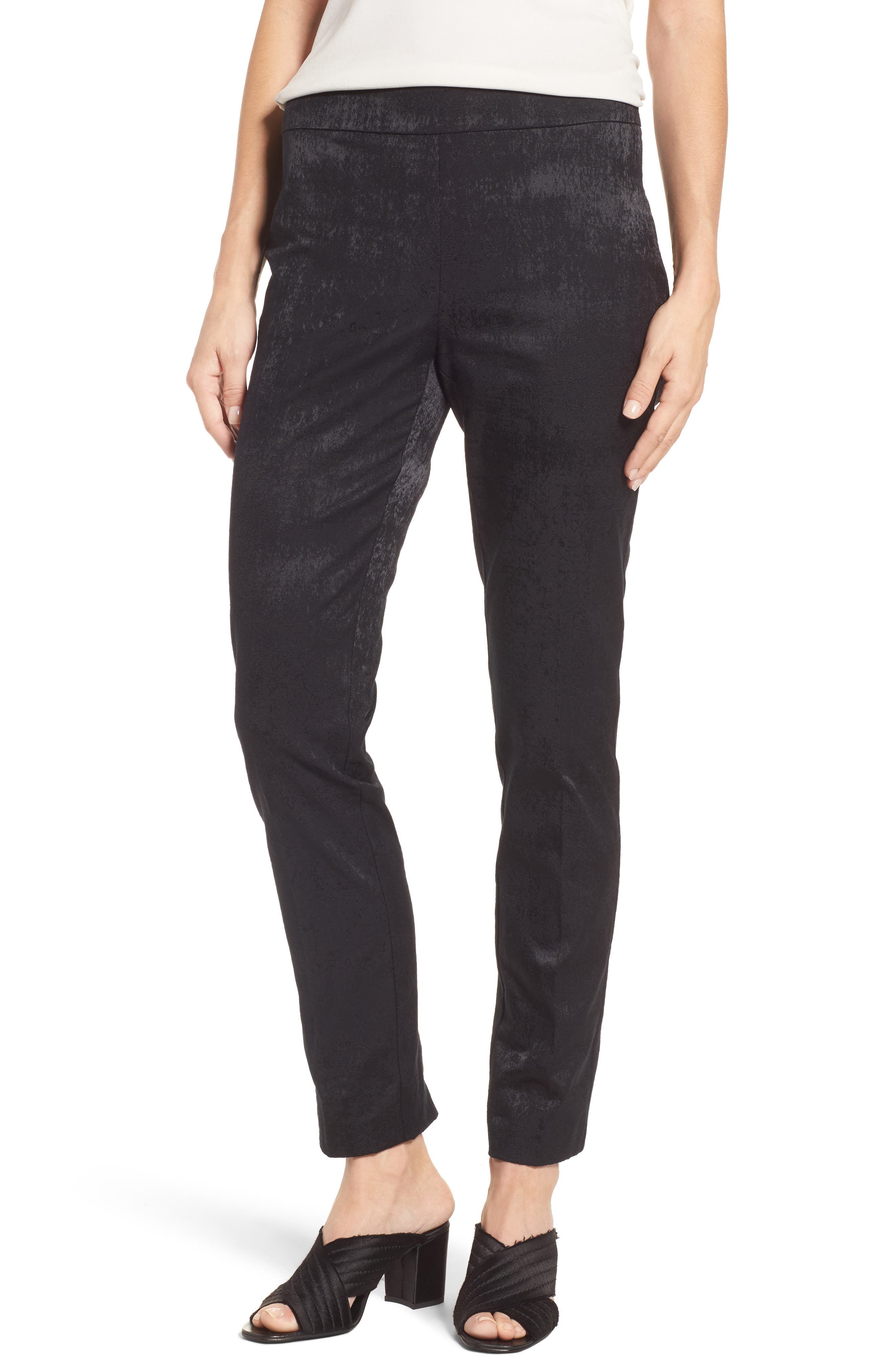 Slim Stretch Jacquard Trousers,                         Main,                         color, Black