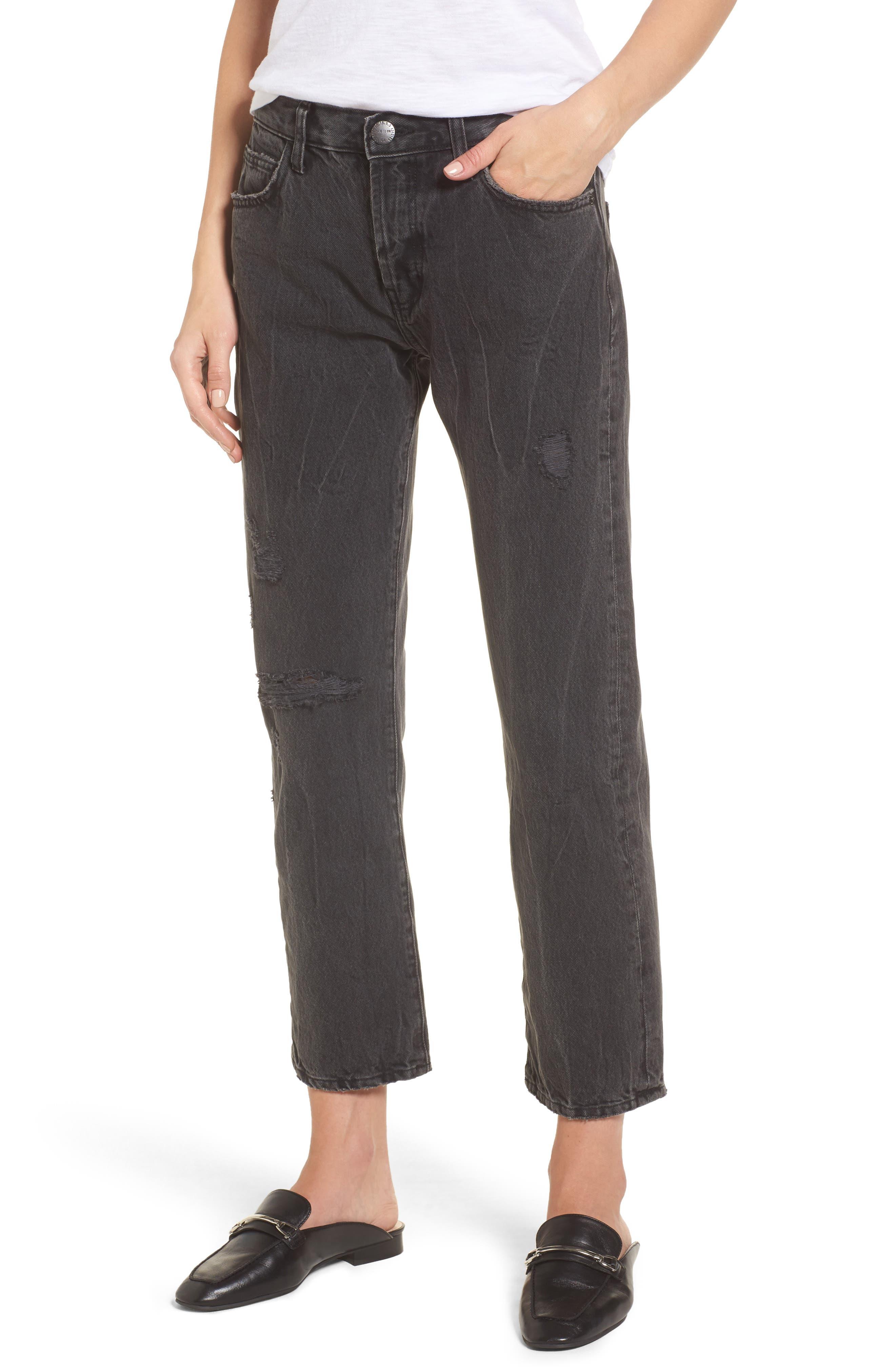 The Original Straight Leg Crop Jeans,                         Main,                         color, Valo Destroy