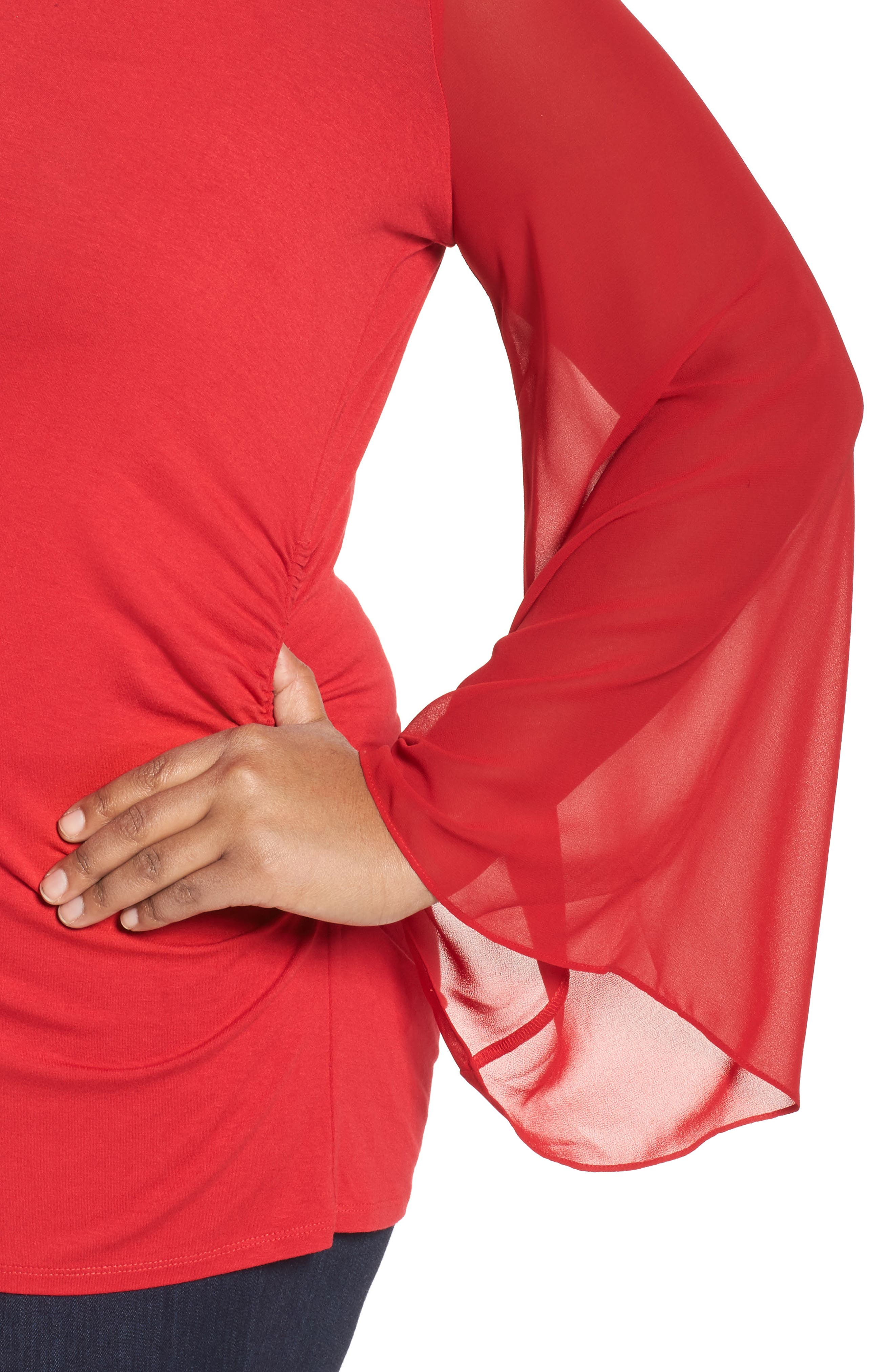 Ruched Bell Sleeve Chiffon Blouse,                             Alternate thumbnail 4, color,                             True Crimson