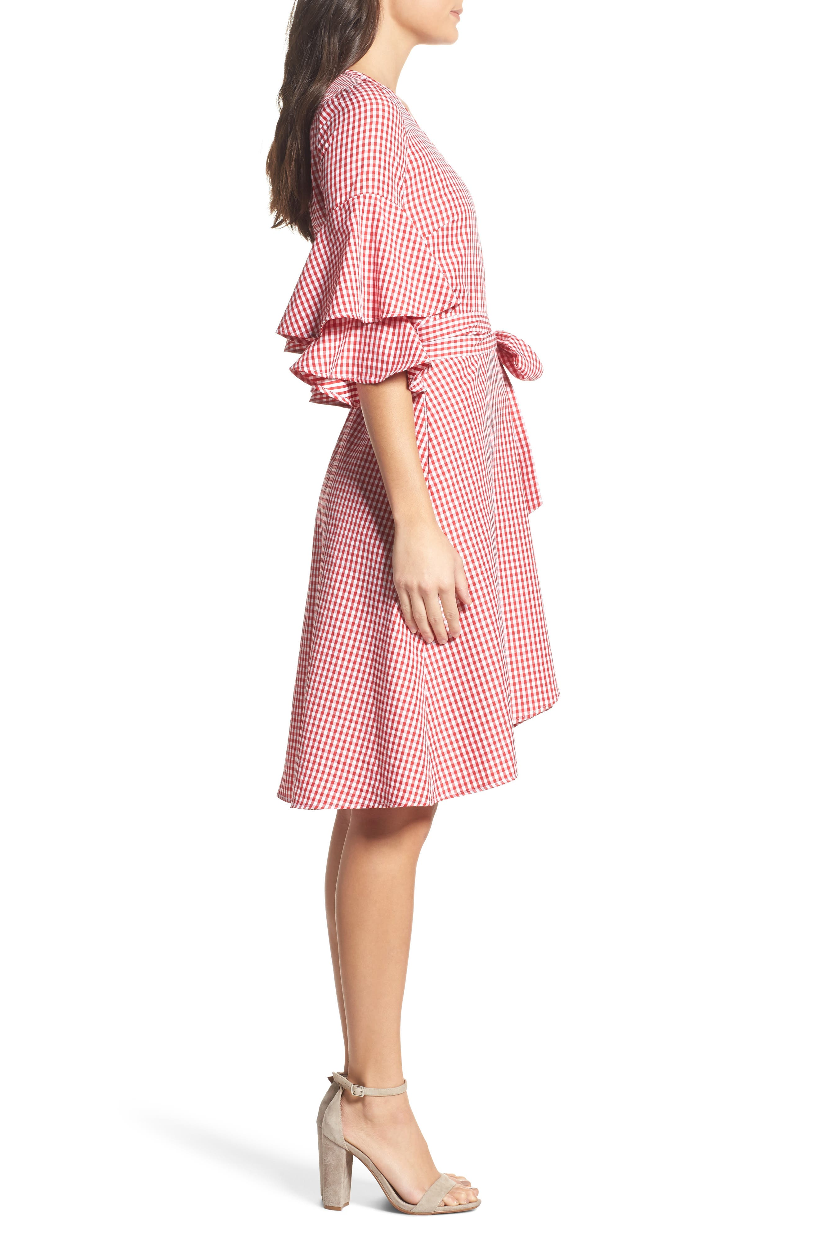 Ruffle Wrap Dress,                             Alternate thumbnail 4, color,                             Red/ White Gingham