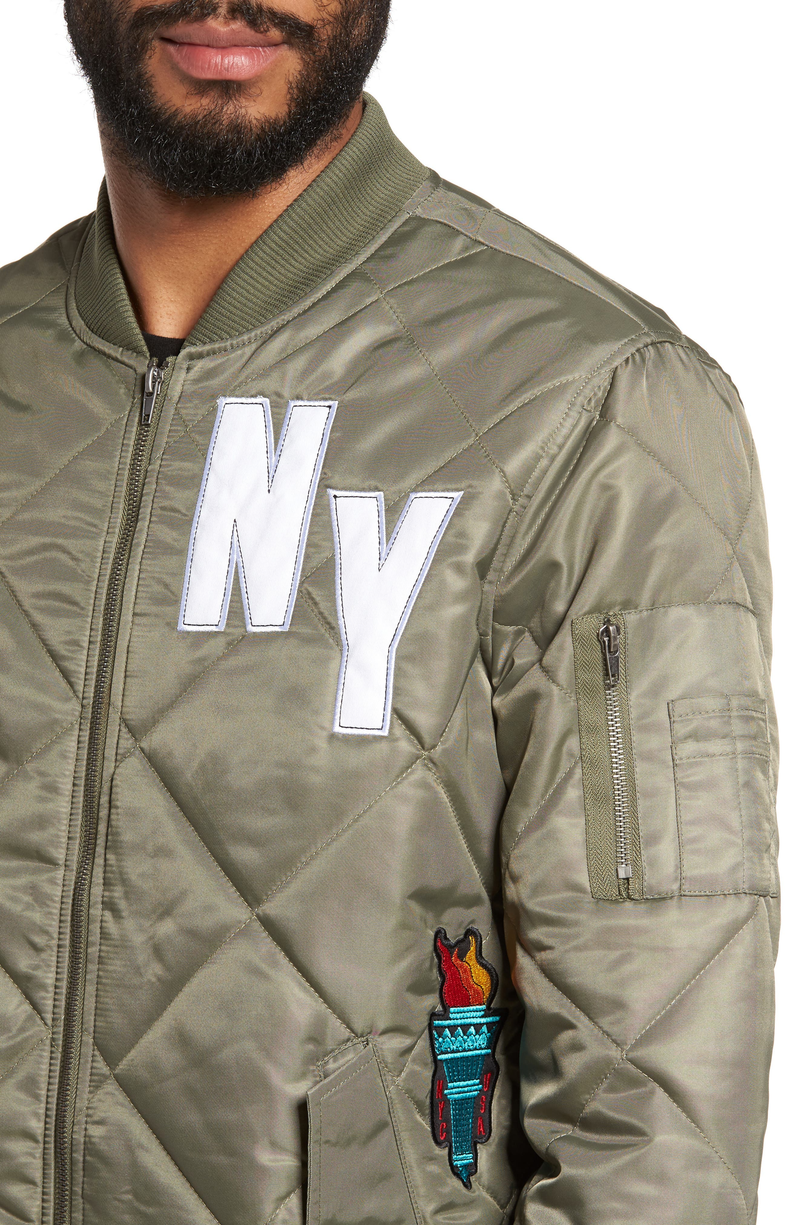 Quilted Bomber Jacket,                             Alternate thumbnail 4, color,                             Olive Marsh
