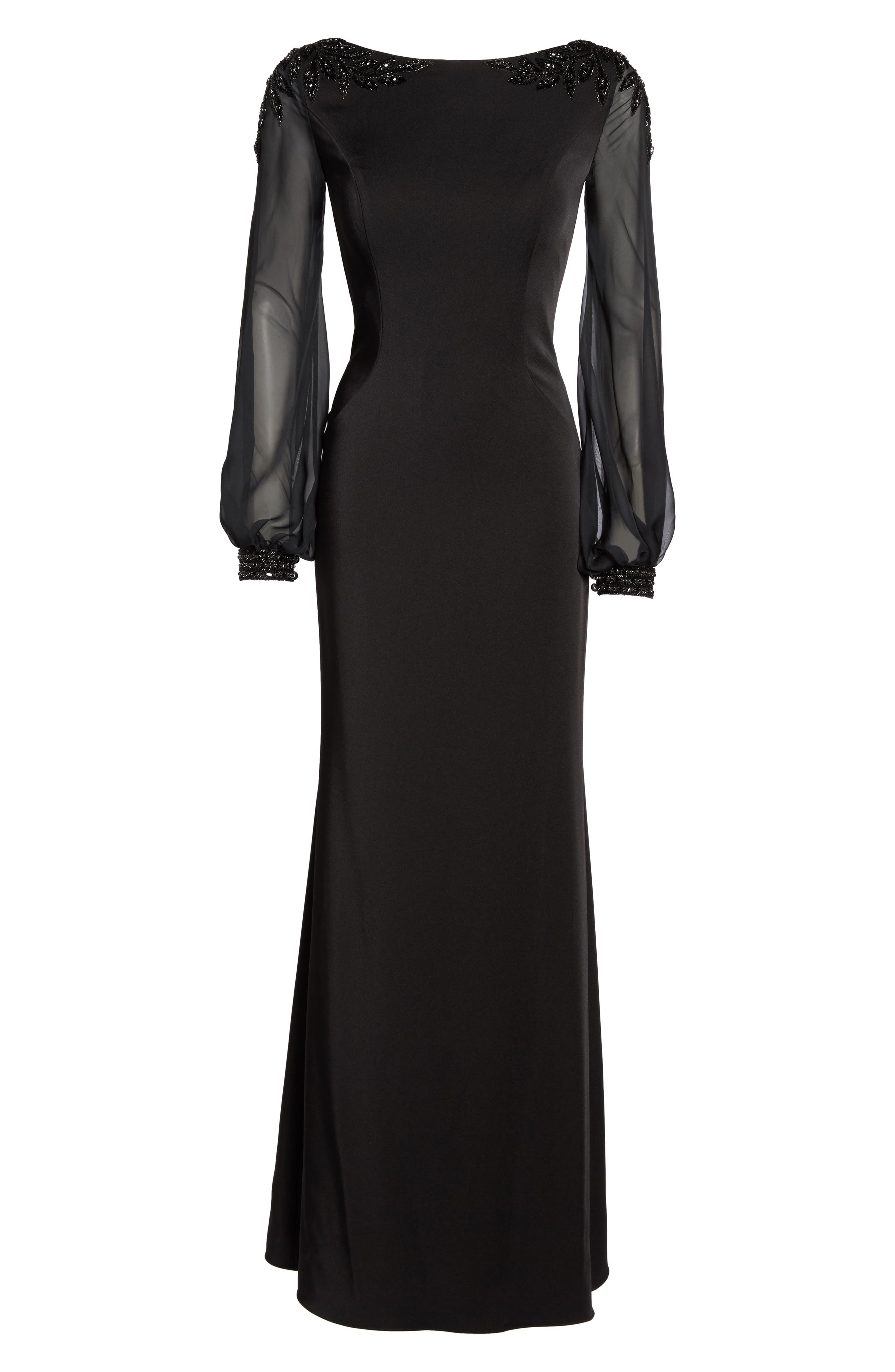 Beaded Bubble Sleeve Gown,                             Alternate thumbnail 6, color,                             Black