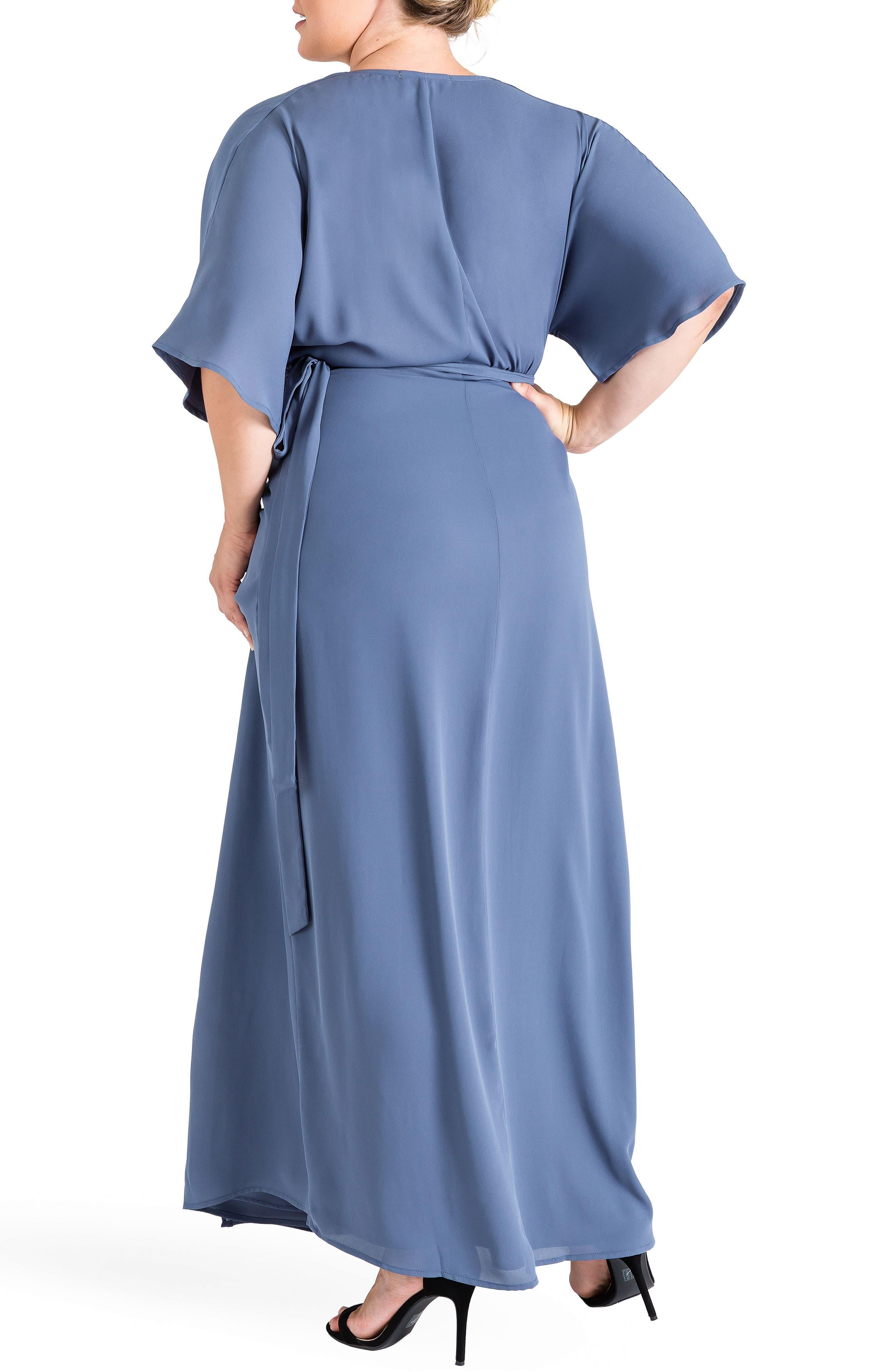 Olivia Print Wrap Maxi Dress,                             Alternate thumbnail 2, color,                             Slate