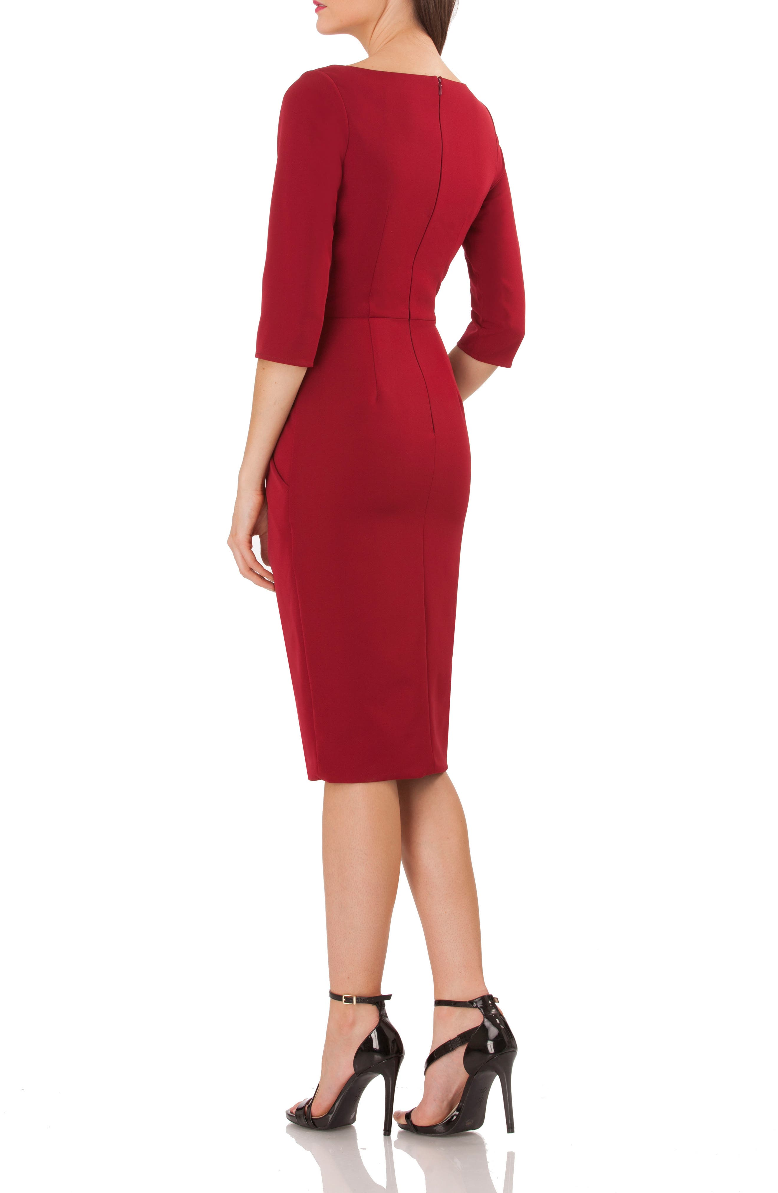Alternate Image 2  - JS Collections Pleated Crepe Sheath Dress