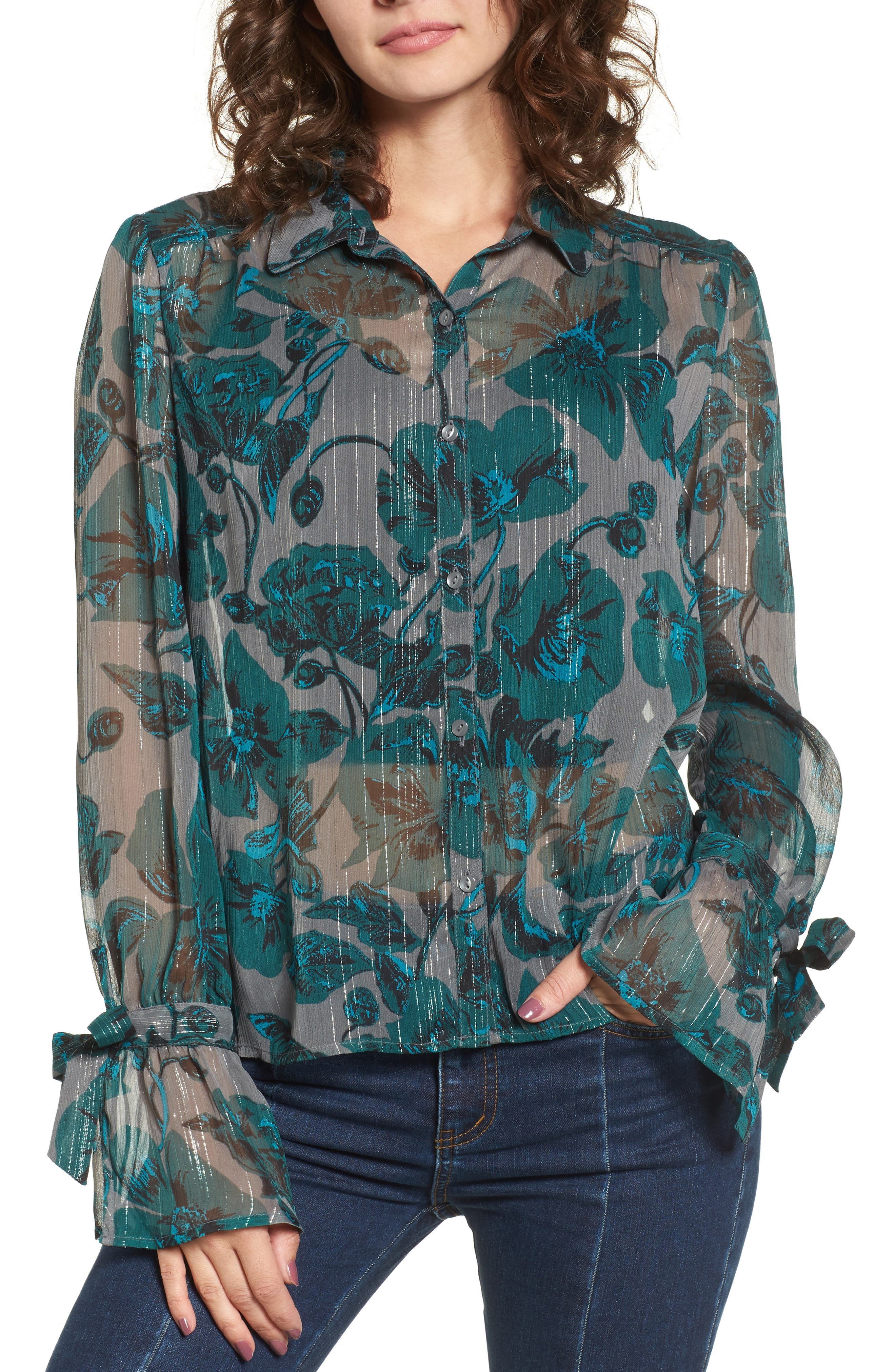 BP. Sheer Metallic Floral Shirt