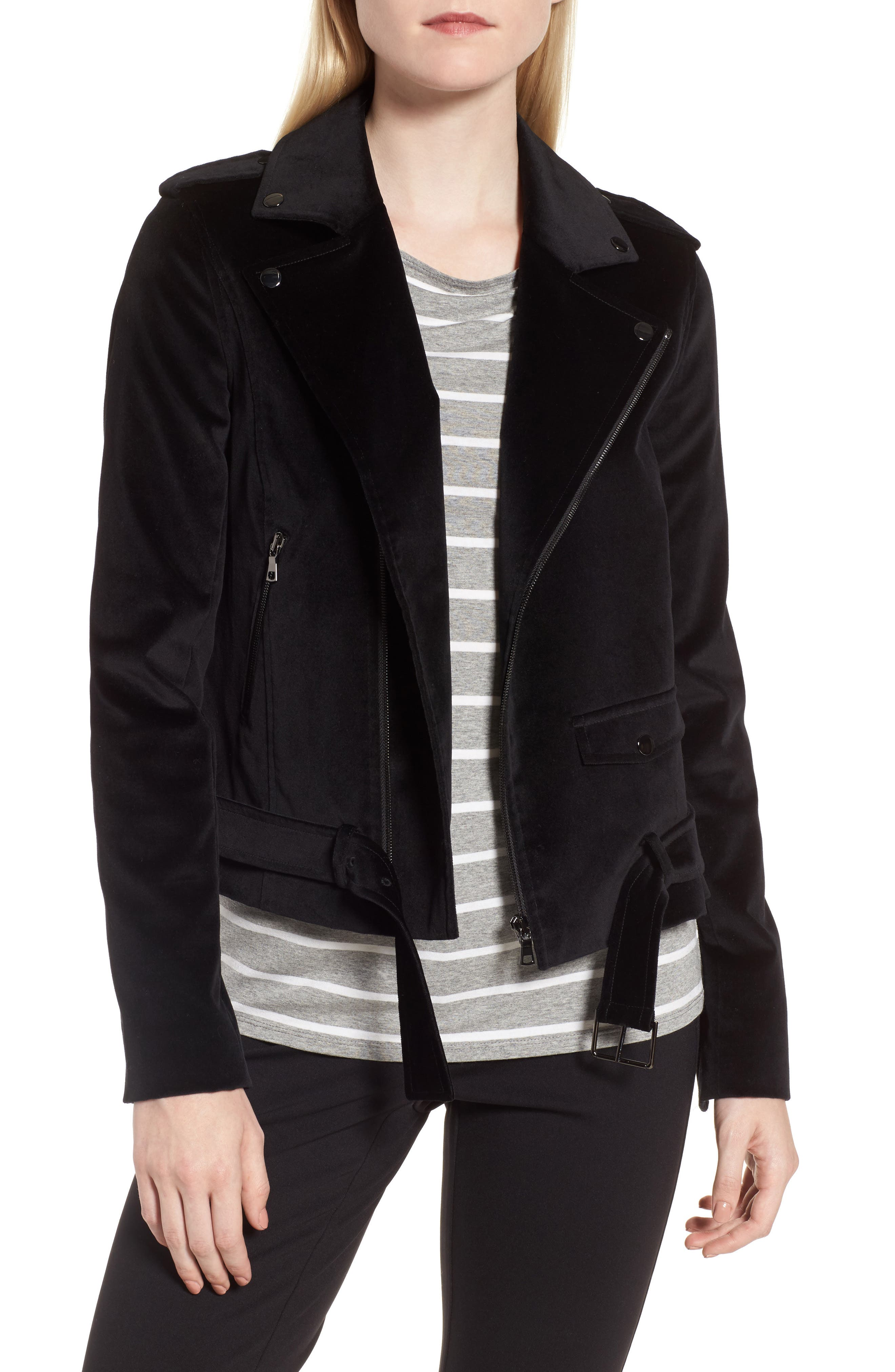 Velvet Moto Jacket,                             Main thumbnail 1, color,                             Black