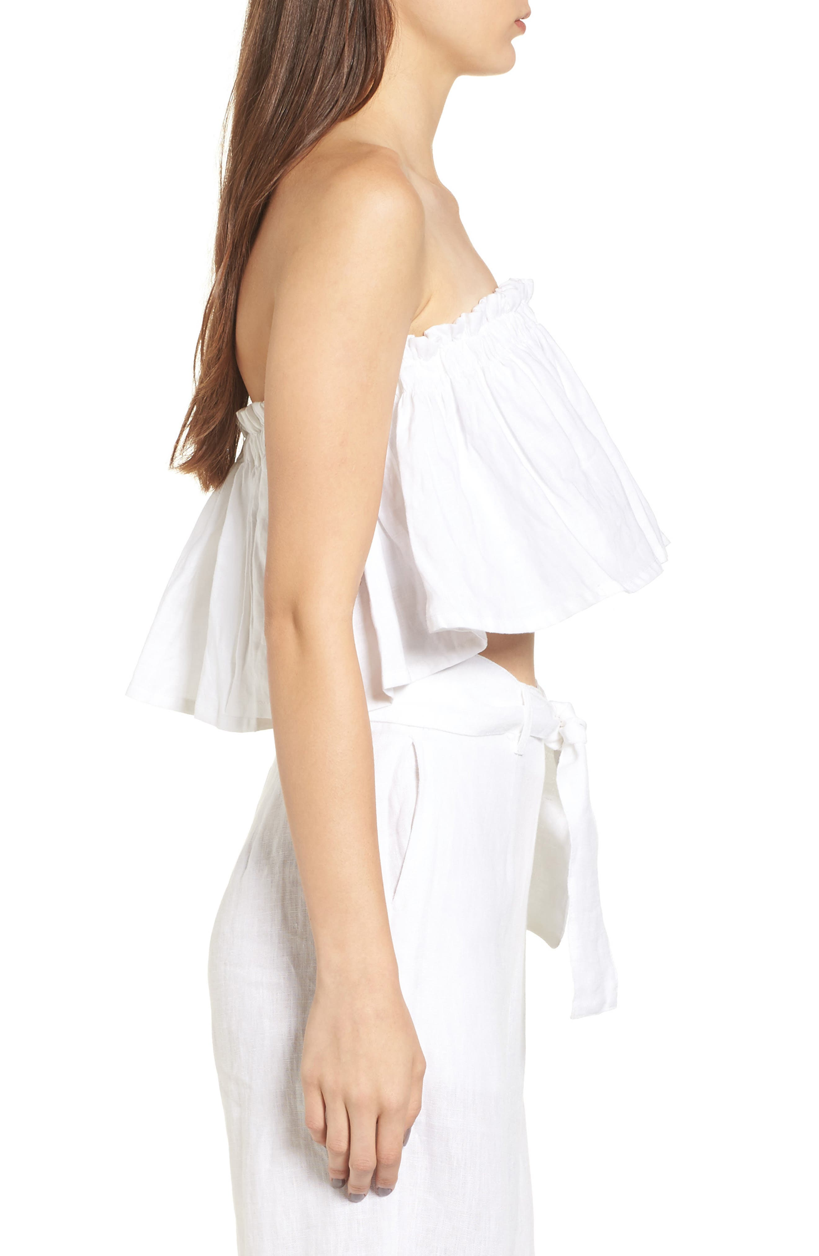Alternate Image 3  - FAITHFULL THE BRAND Pietro Cinched Linen Crop Top