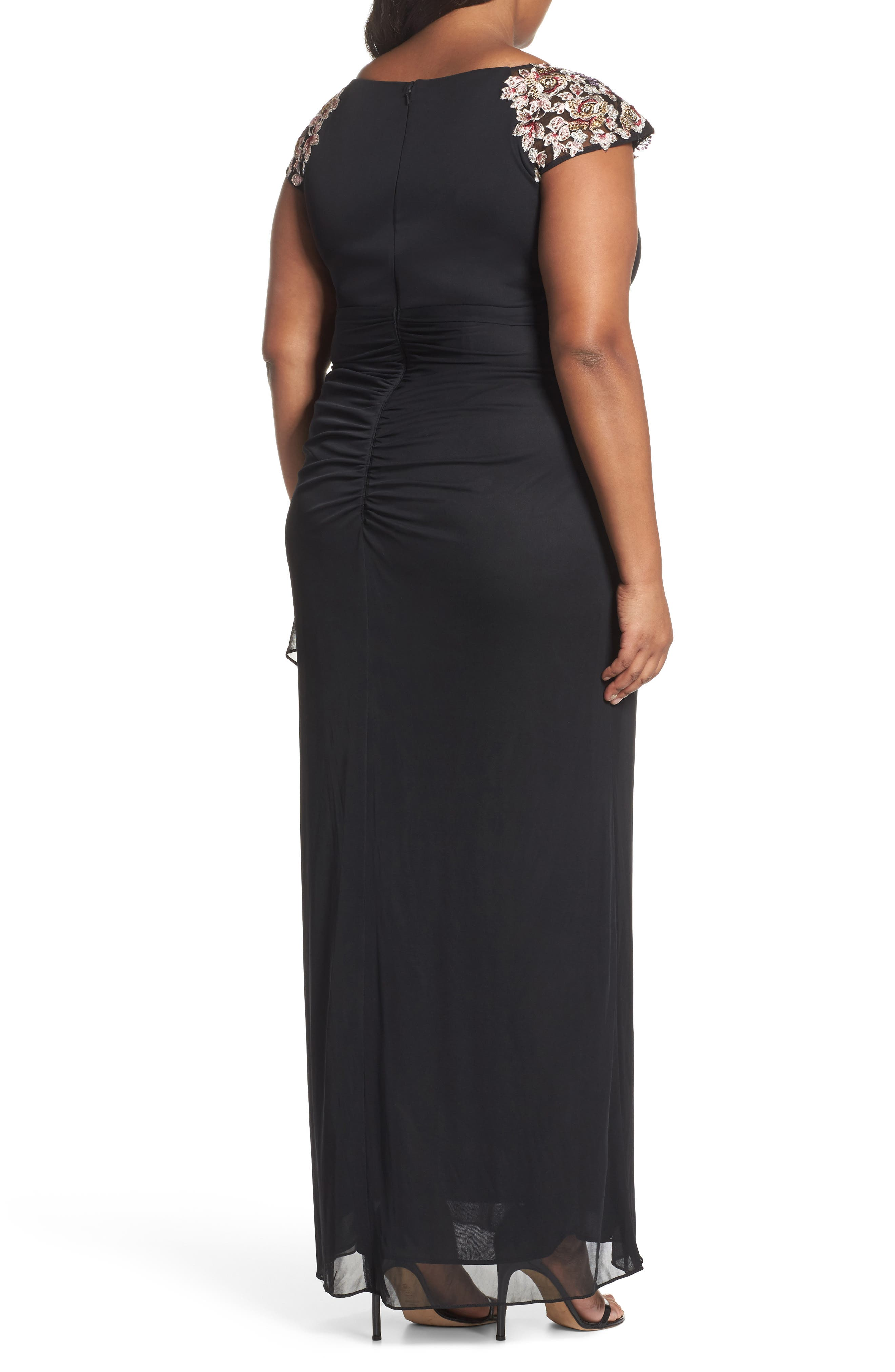 Embroidered Side Ruched Dress,                             Alternate thumbnail 2, color,                             Black/ Multi