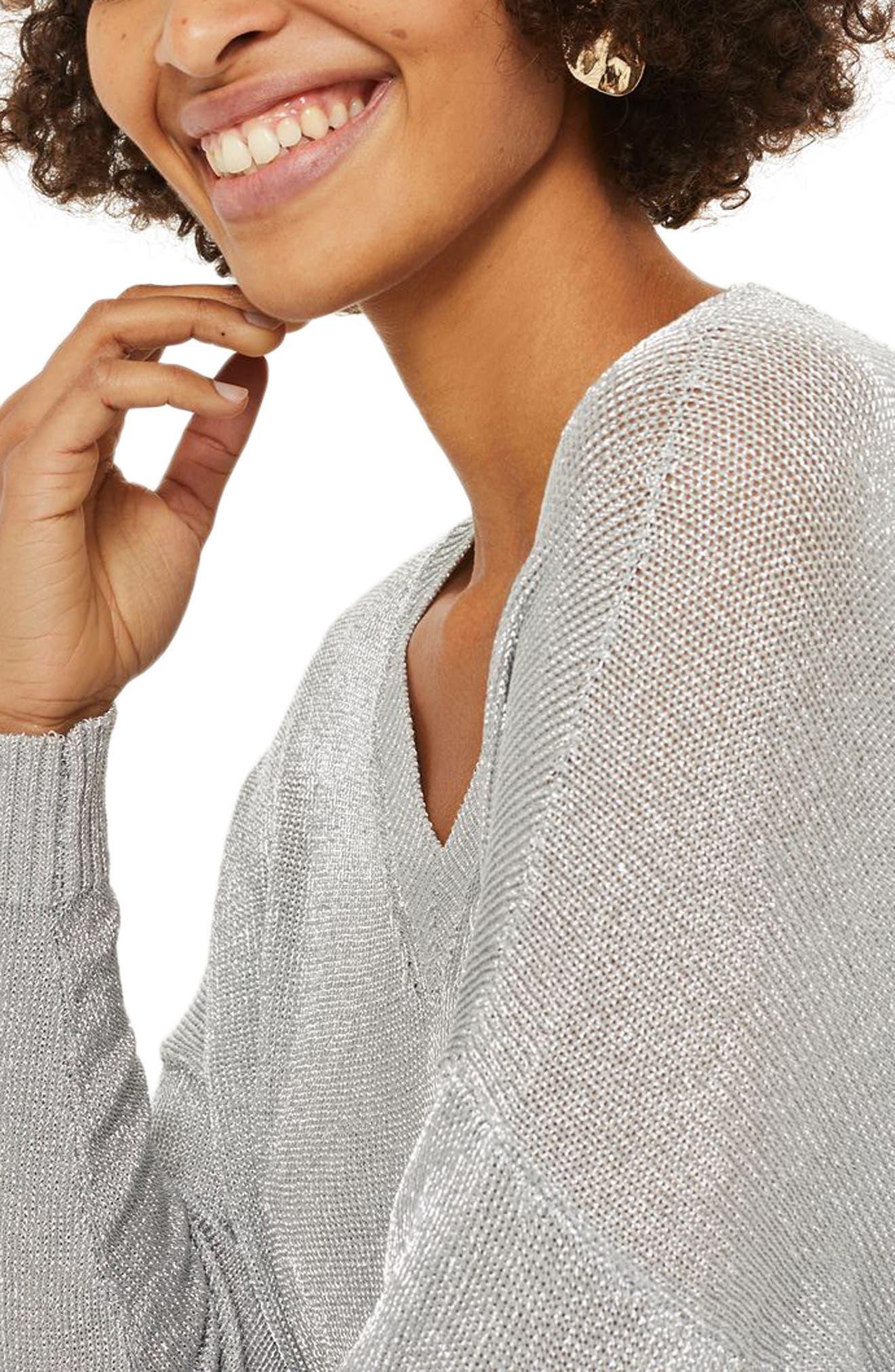 Metallic Longline V-Neck Sweater,                             Alternate thumbnail 2, color,                             Silver