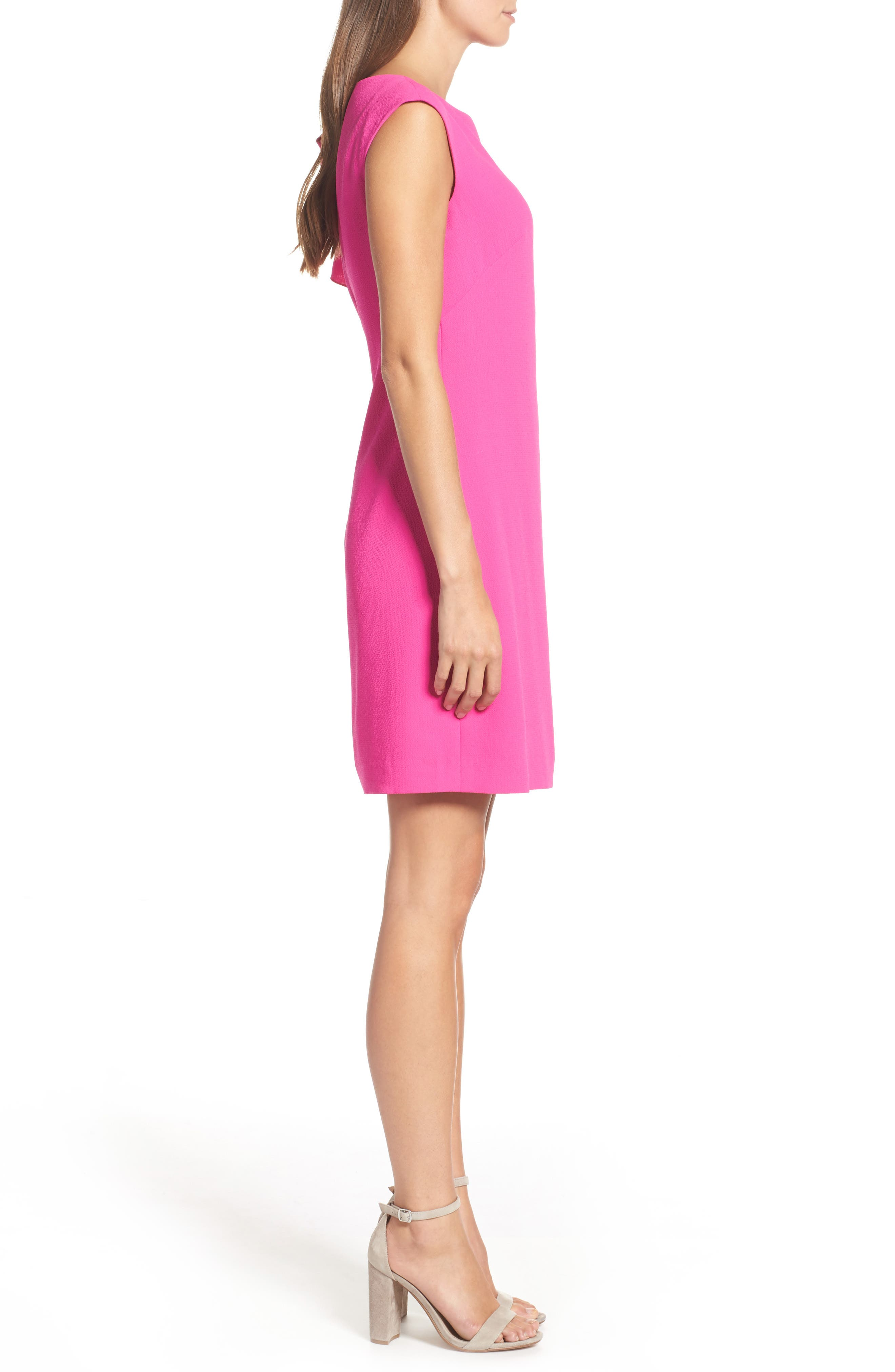 Ruffle Sleeve Shift Dress,                             Alternate thumbnail 4, color,                             Pink