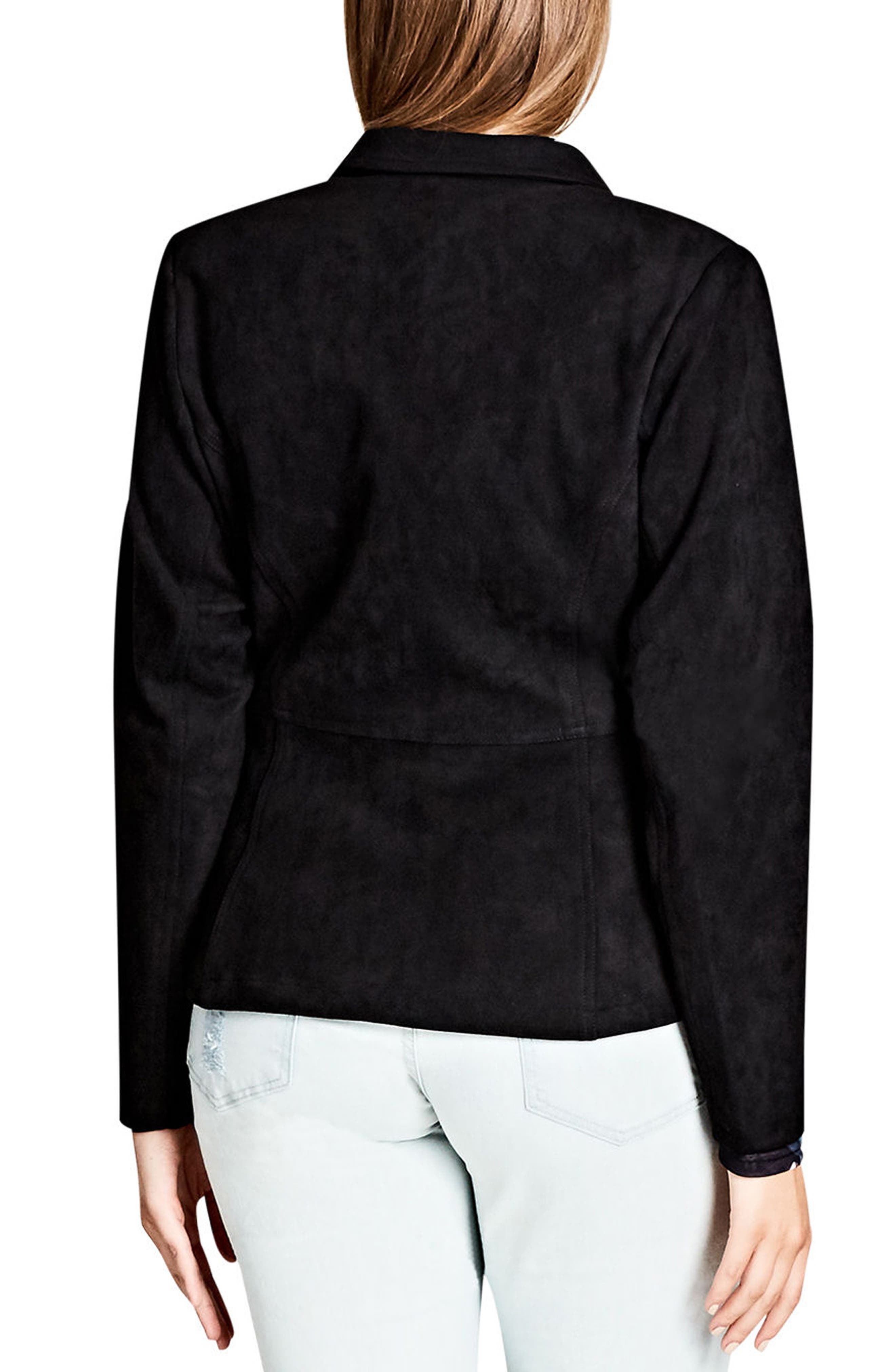 Alternate Image 2  - City Chic Smooth Operator Faux Suede Jacket (Plus Size)