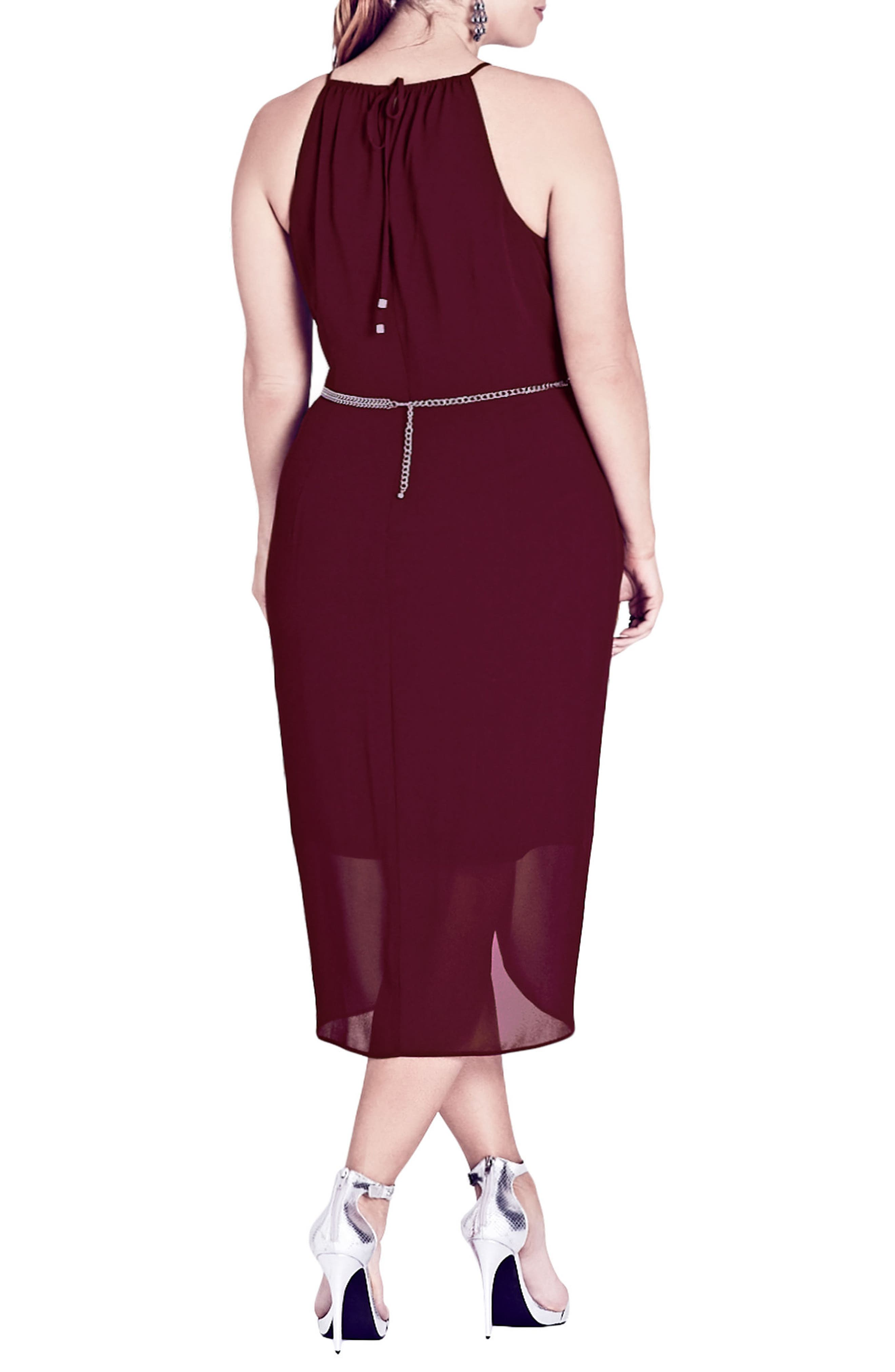 Wrap Love Belted Dress,                             Alternate thumbnail 2, color,                             Garnet