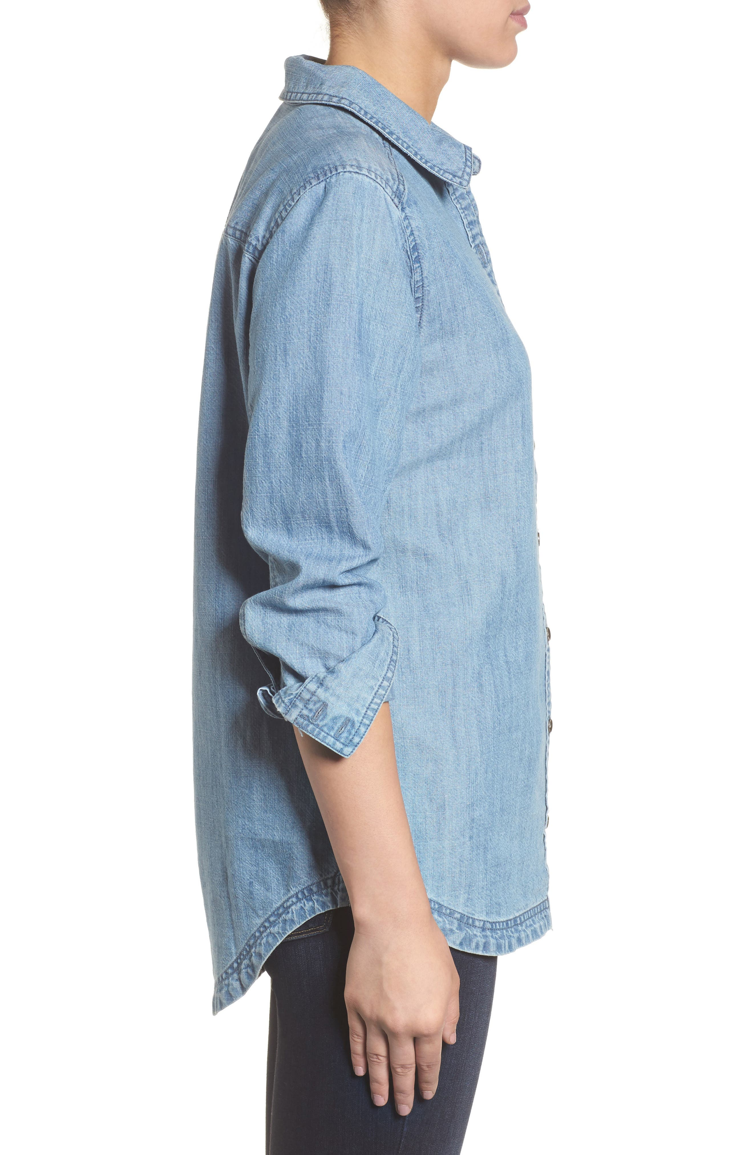 Button Front Chambray Shirt,                             Alternate thumbnail 3, color,                             Chambray