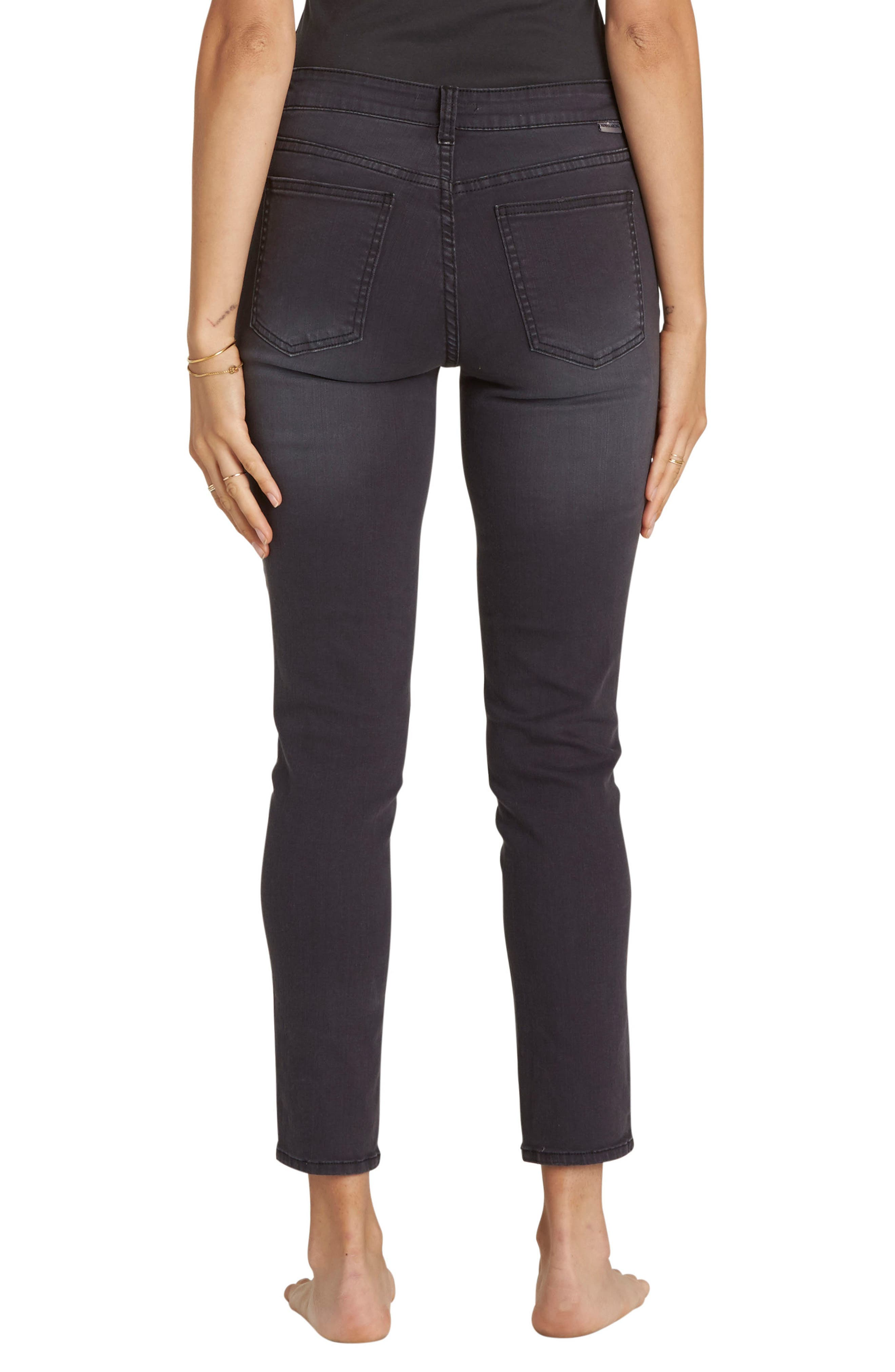 Side By Side Lace Up Skinny Jeans,                             Alternate thumbnail 2, color,                             Black Pebble