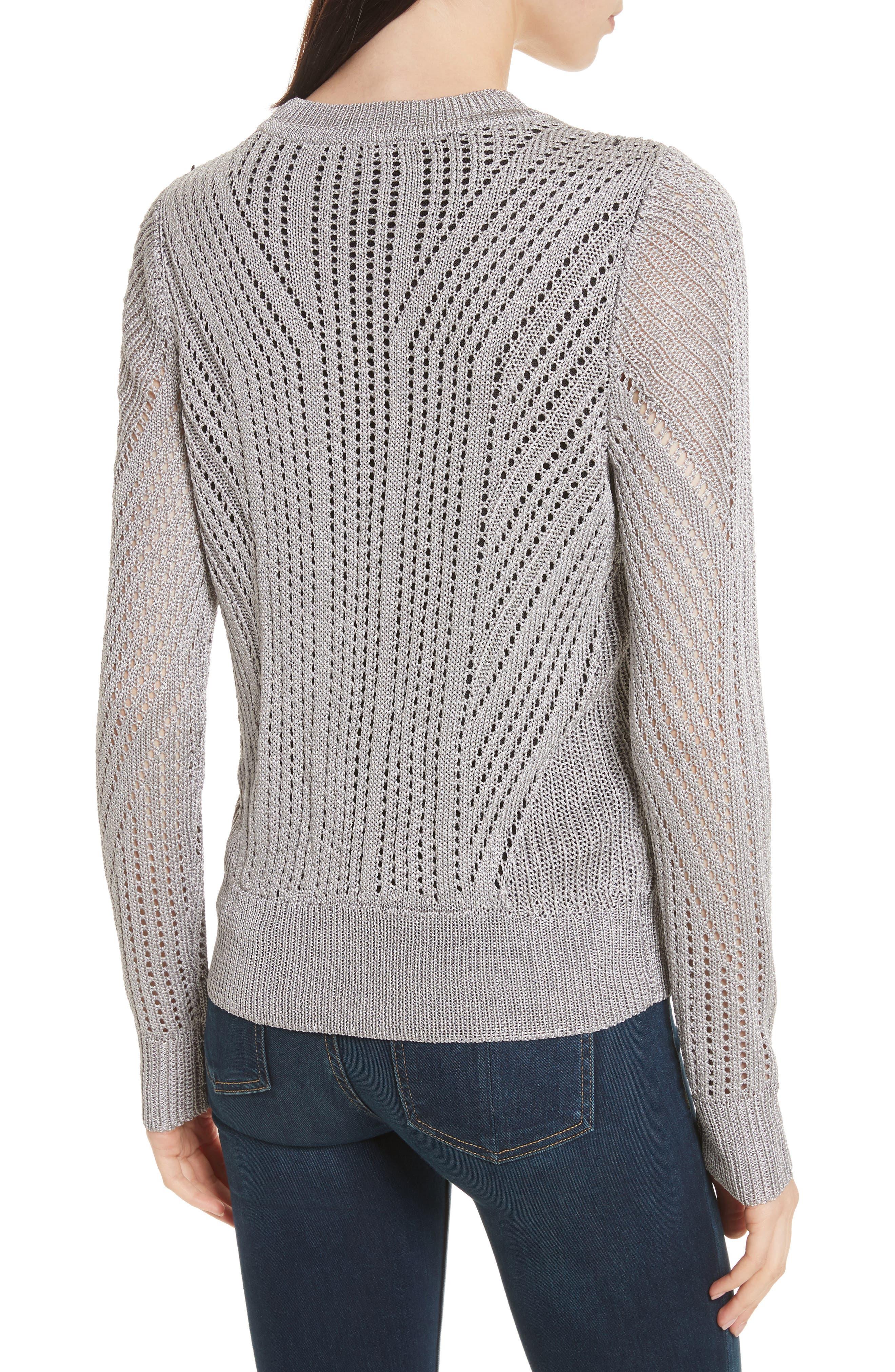 Pamela Crewneck Pointelle Sweater,                             Alternate thumbnail 2, color,                             Silver