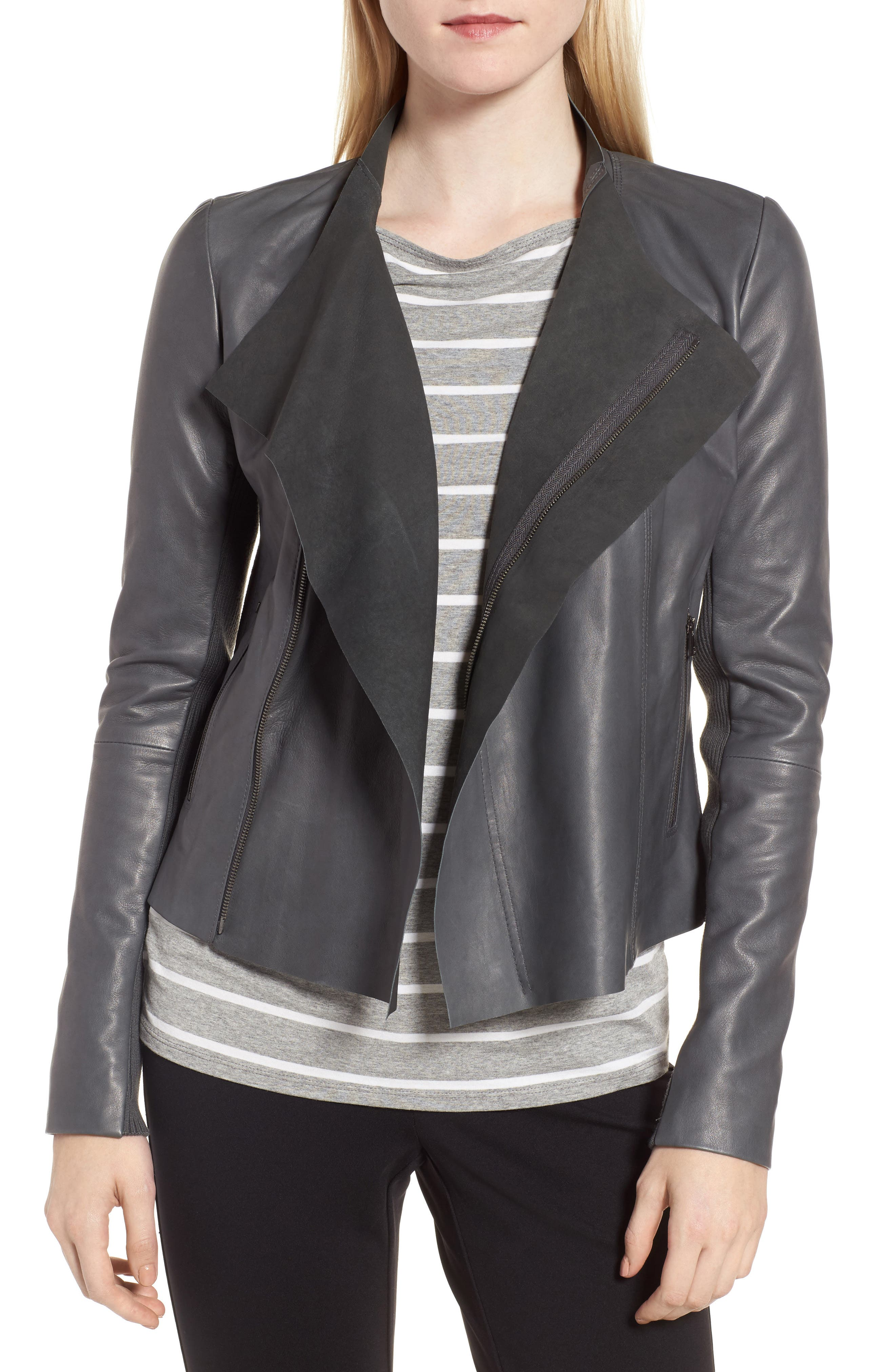 Cascade Front Leather Jacket,                         Main,                         color, Grey Magnet