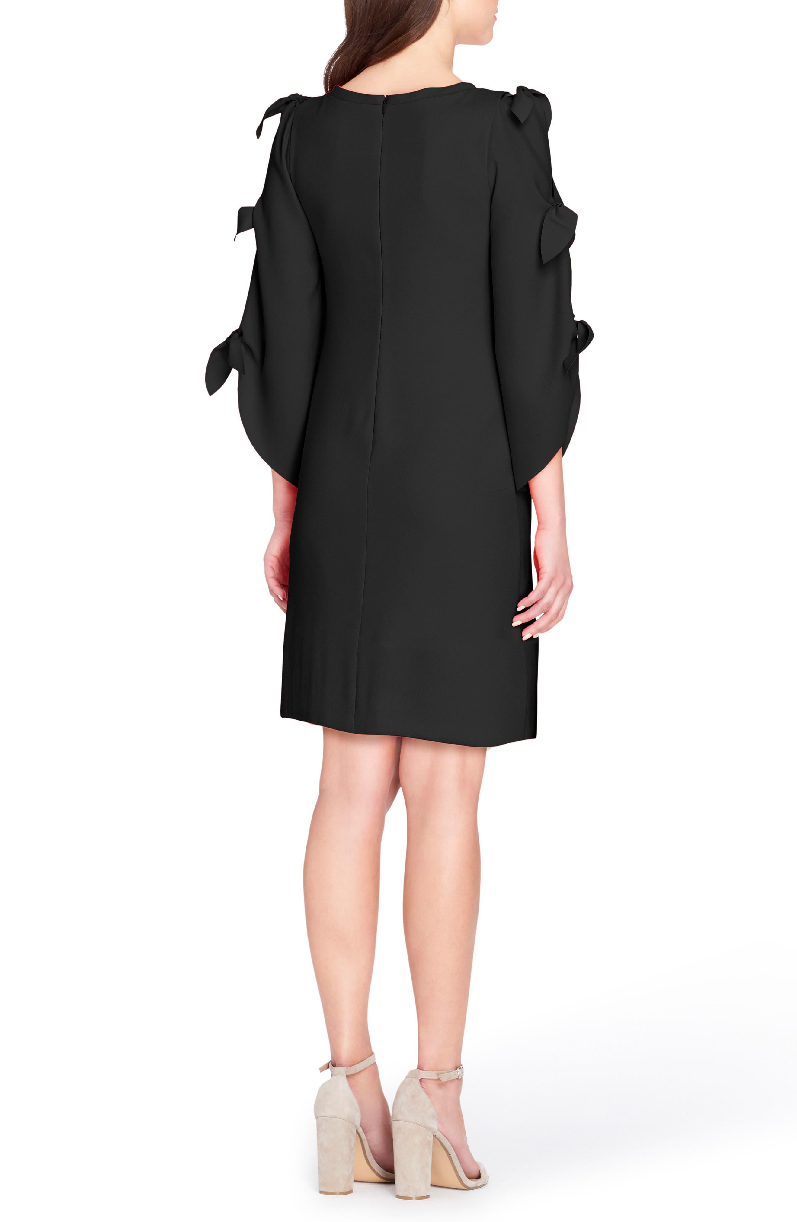 Split Tie Sleeve Shift Dress,                             Alternate thumbnail 2, color,                             Black