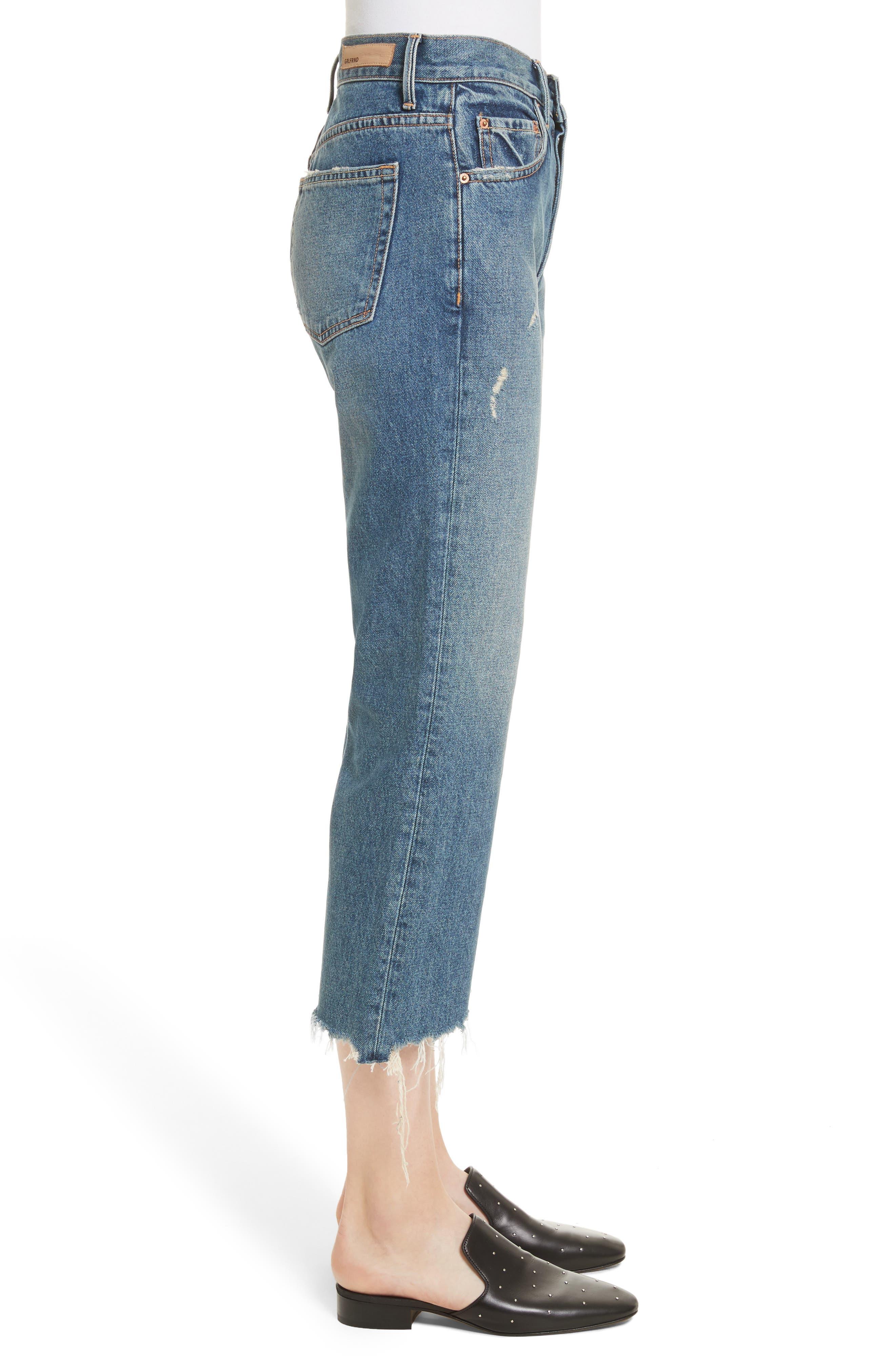 Linda Ripped Rigid High Waist Pop Crop Jeans,                             Alternate thumbnail 3, color,                             Zodiac