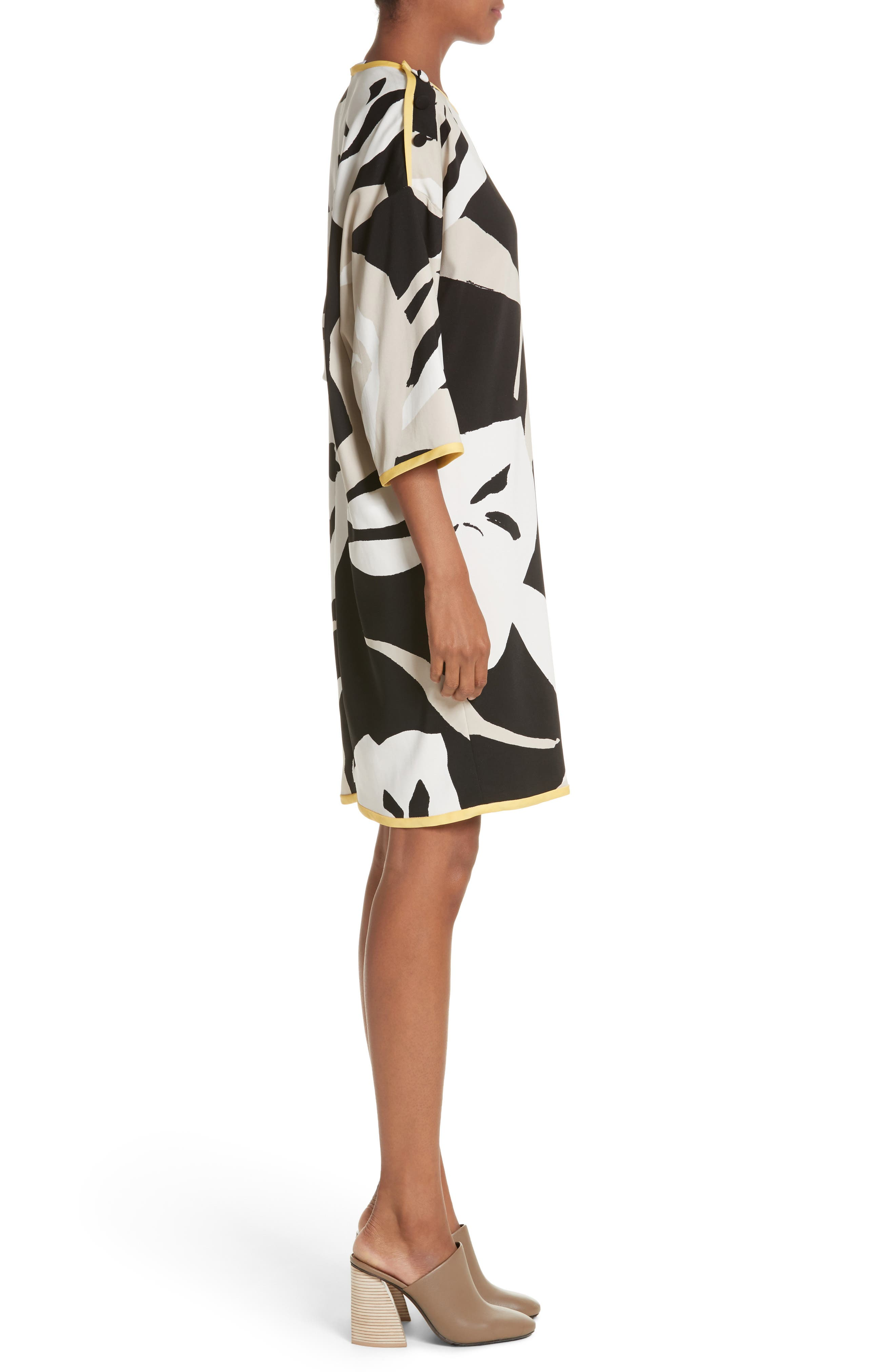 Leva Print Shift Dress,                             Alternate thumbnail 3, color,                             Black