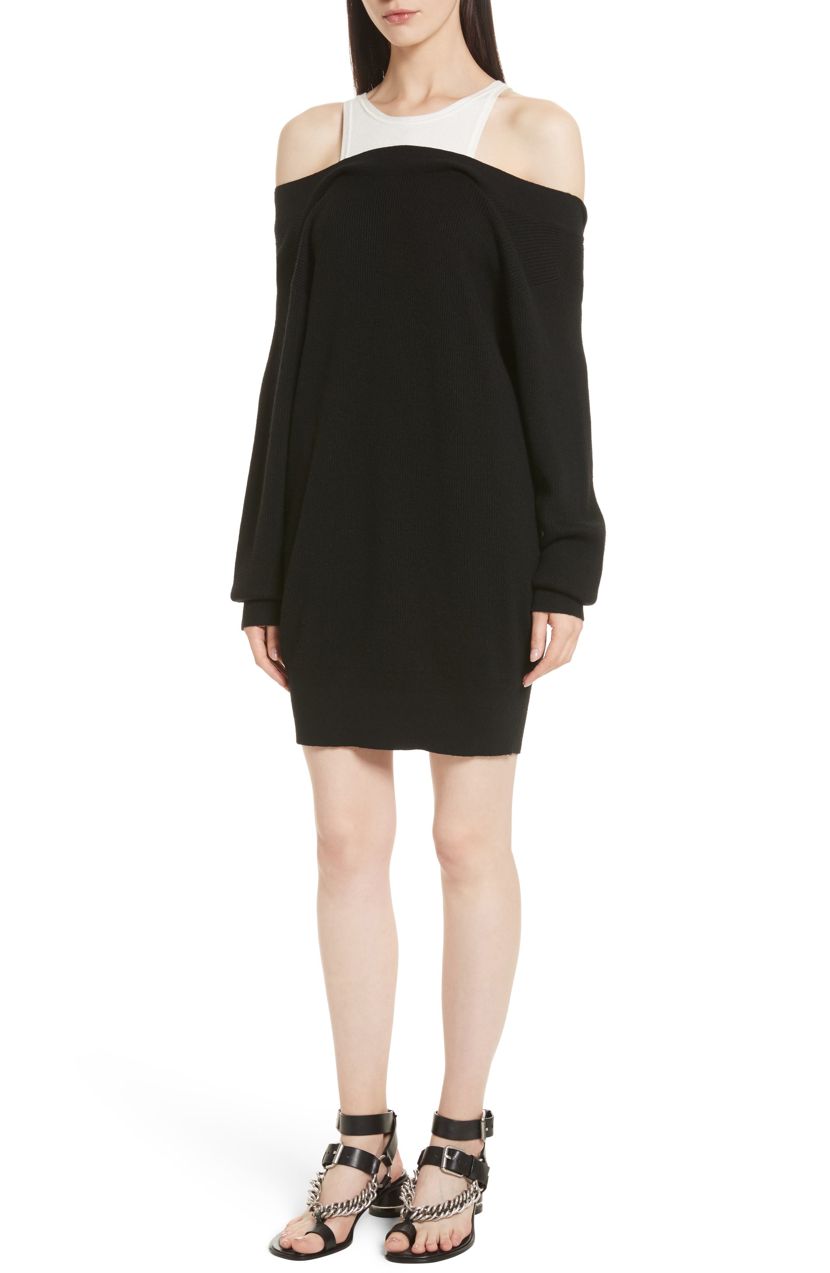 Bi-Layer Knit Dress with Inner Tank,                         Main,                         color, Black/ White Combo