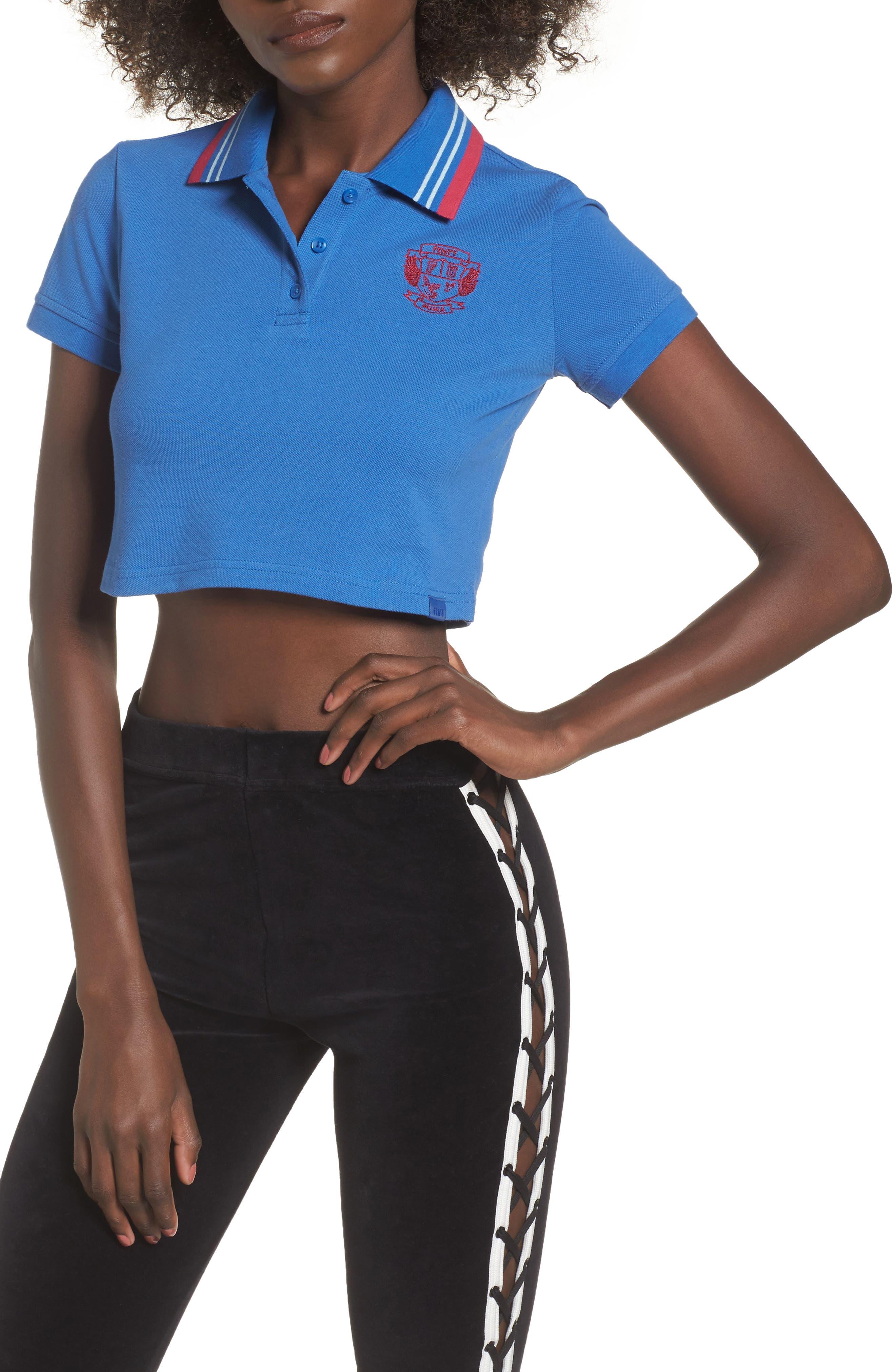 FENTY PUMA By Rihanna Crop Polo,                         Main,                         color, Bright Cobalt