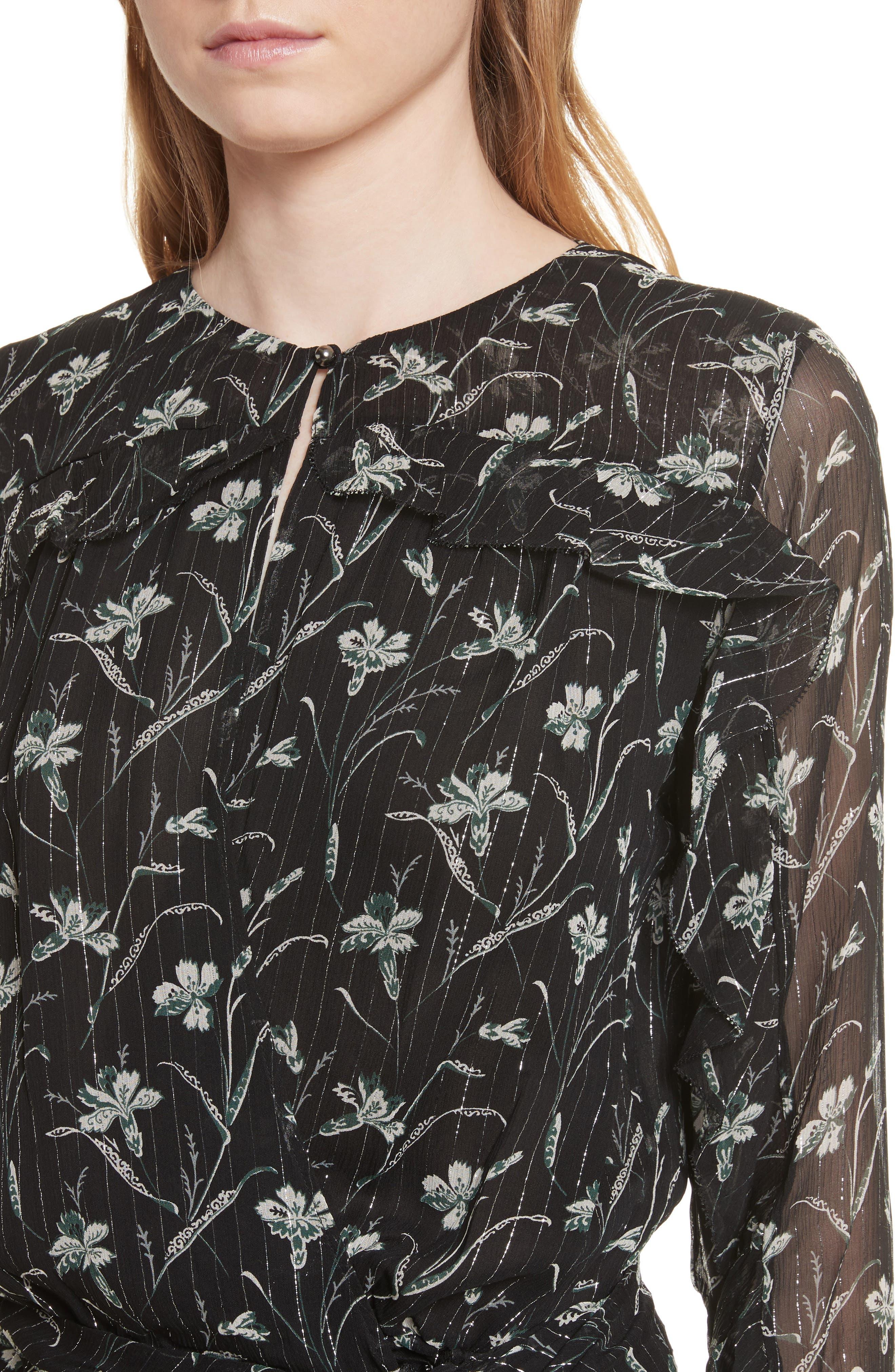 Fitzgerald Floral Print Metallic Chiffon Dress,                             Alternate thumbnail 4, color,                             Green/ Black