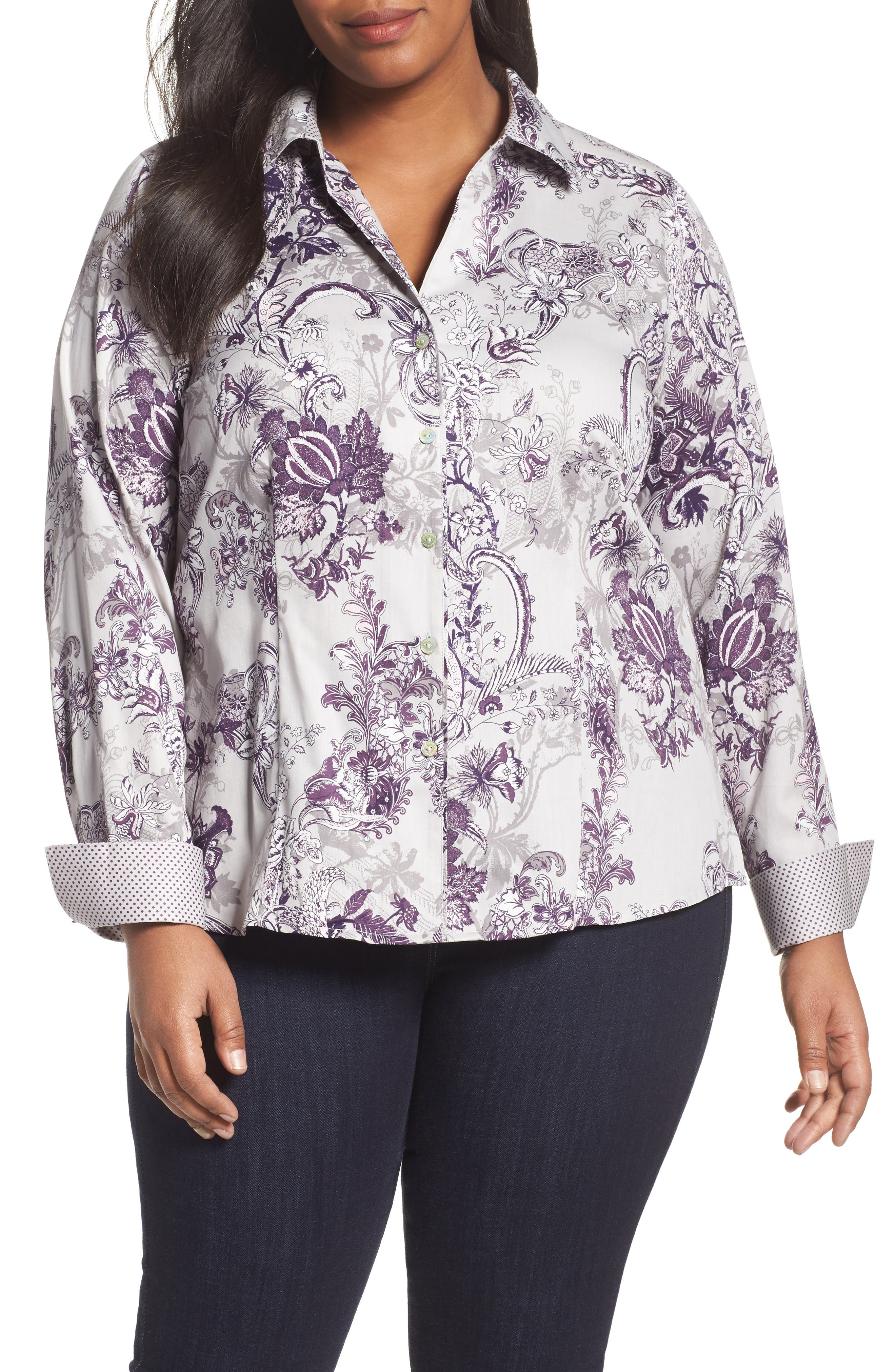 Main Image - Foxcroft Floral Tapestry Shirt (Plus Size)