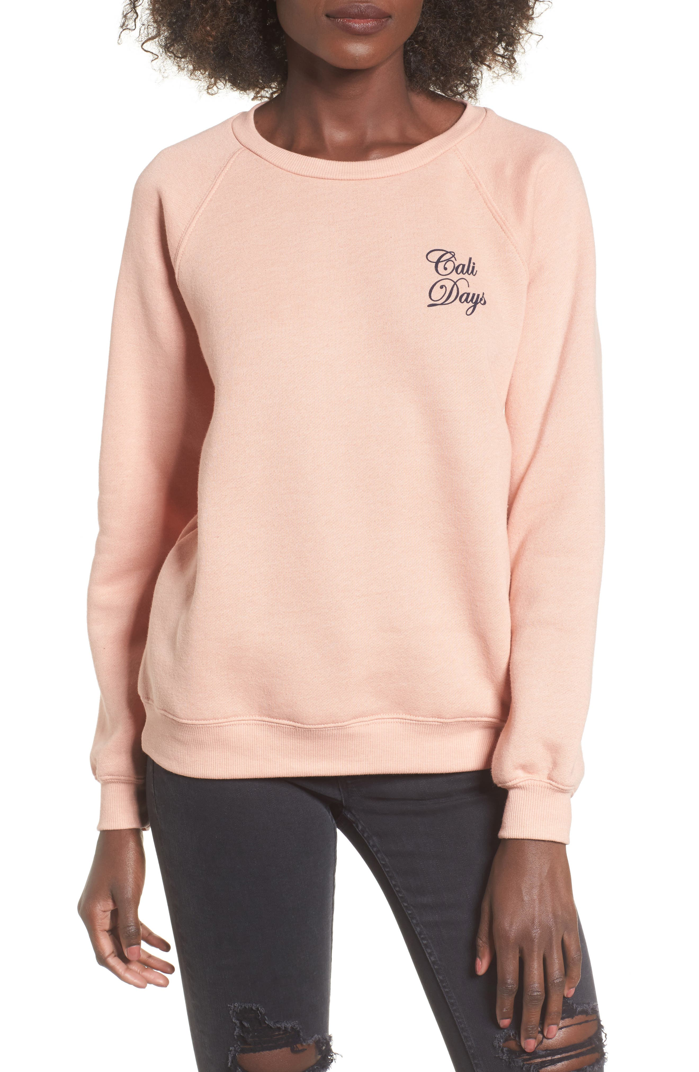 Cali Days Sweatshirt,                             Main thumbnail 1, color,                             Pearl Pink