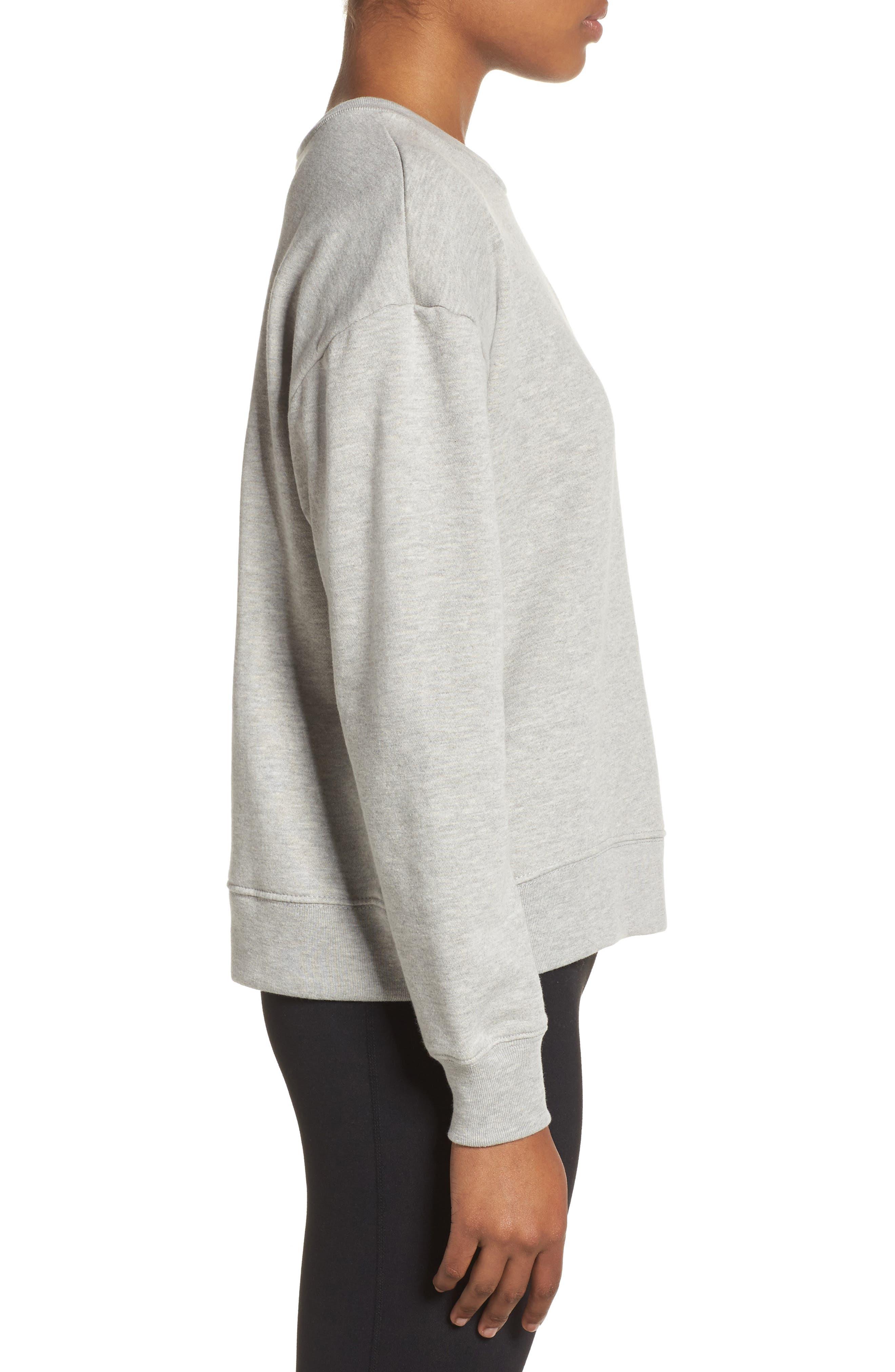 Lace-Up Crewneck Sweatshirt,                             Alternate thumbnail 3, color,                             Grey Heather
