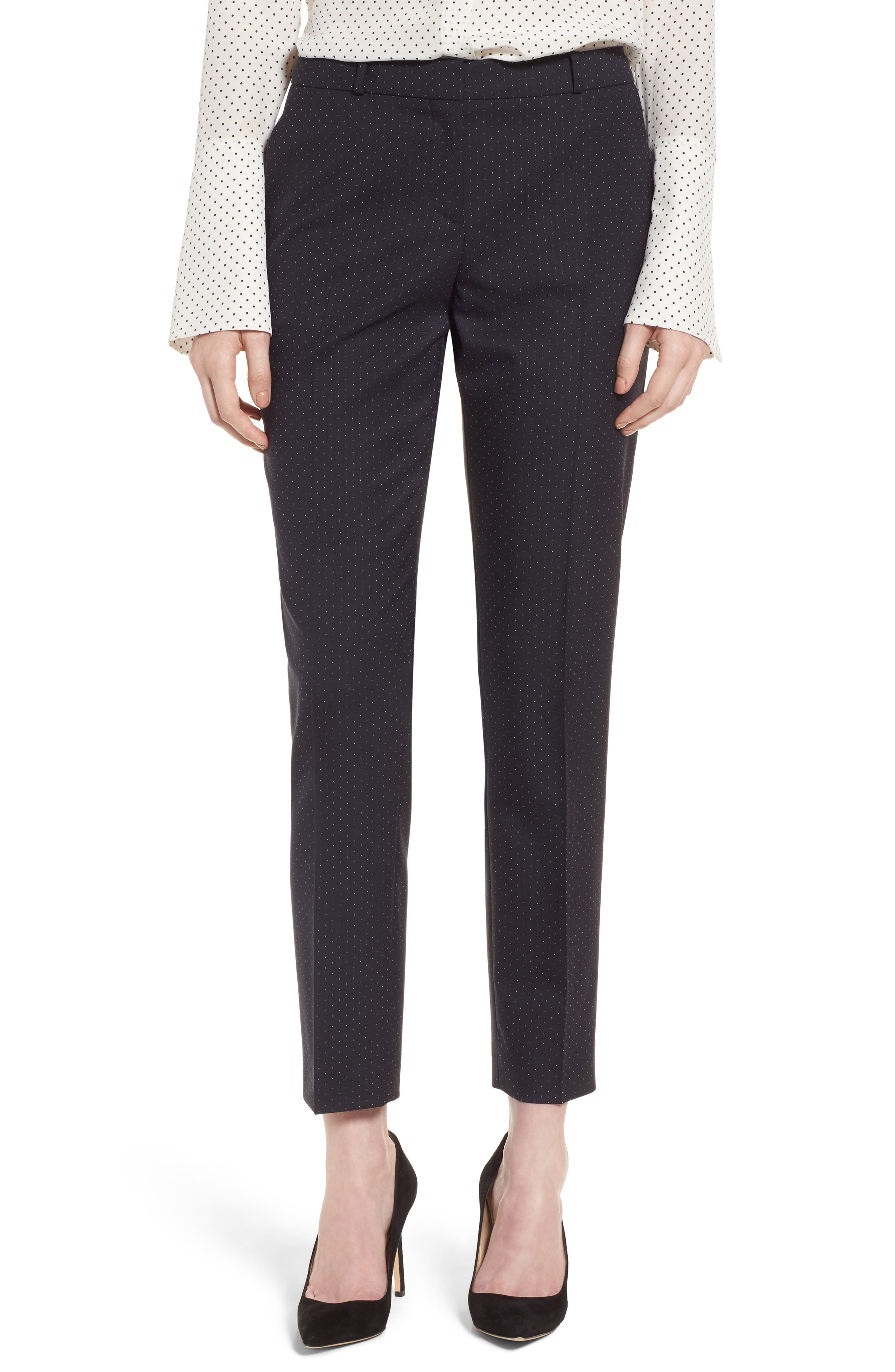 BOSS Tanitea Mini Dot Stretch Wool Suit Trousers