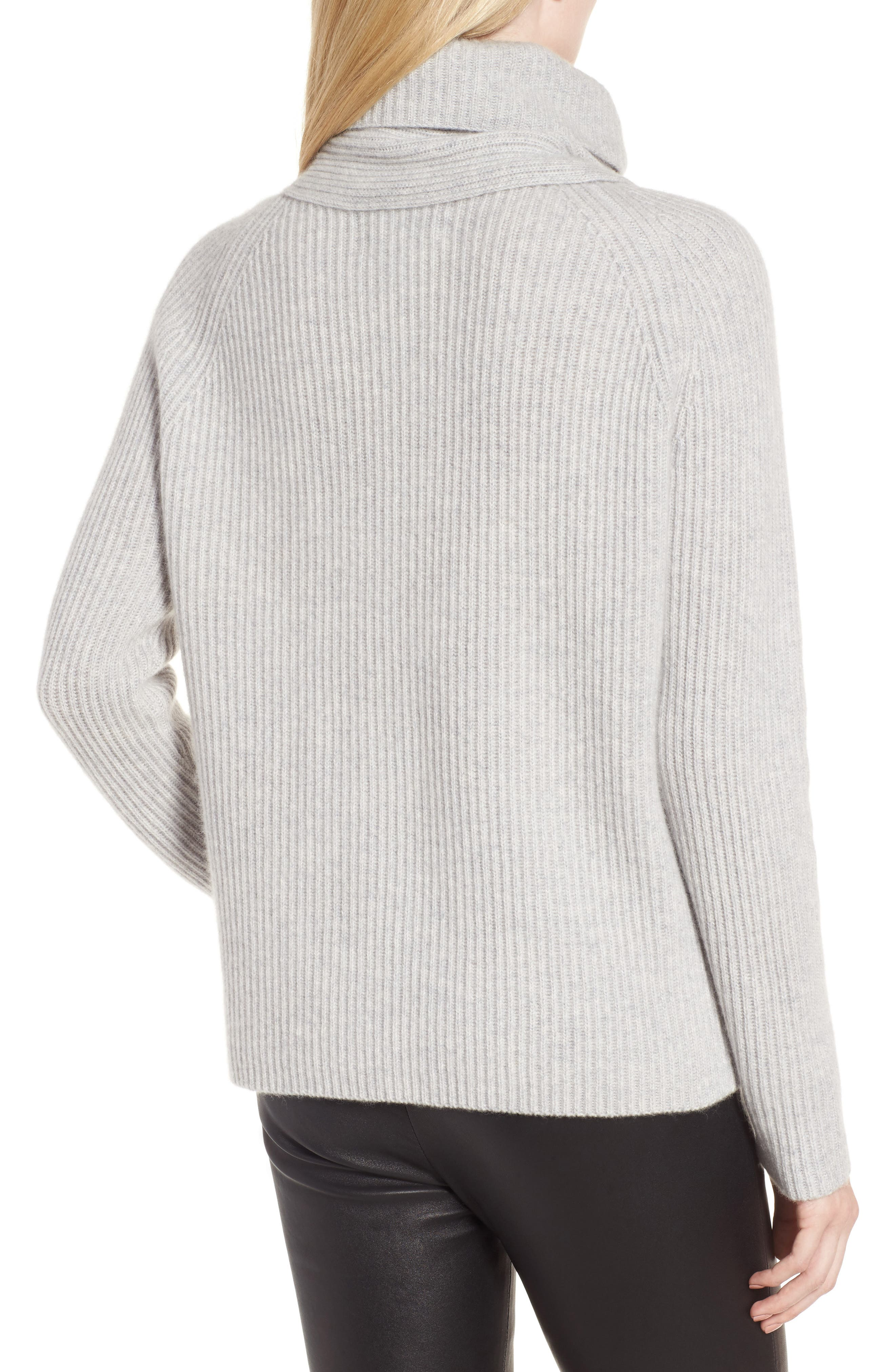 Scarf Neck Cashmere Sweater,                             Alternate thumbnail 3, color,                             Grey Clay Heather