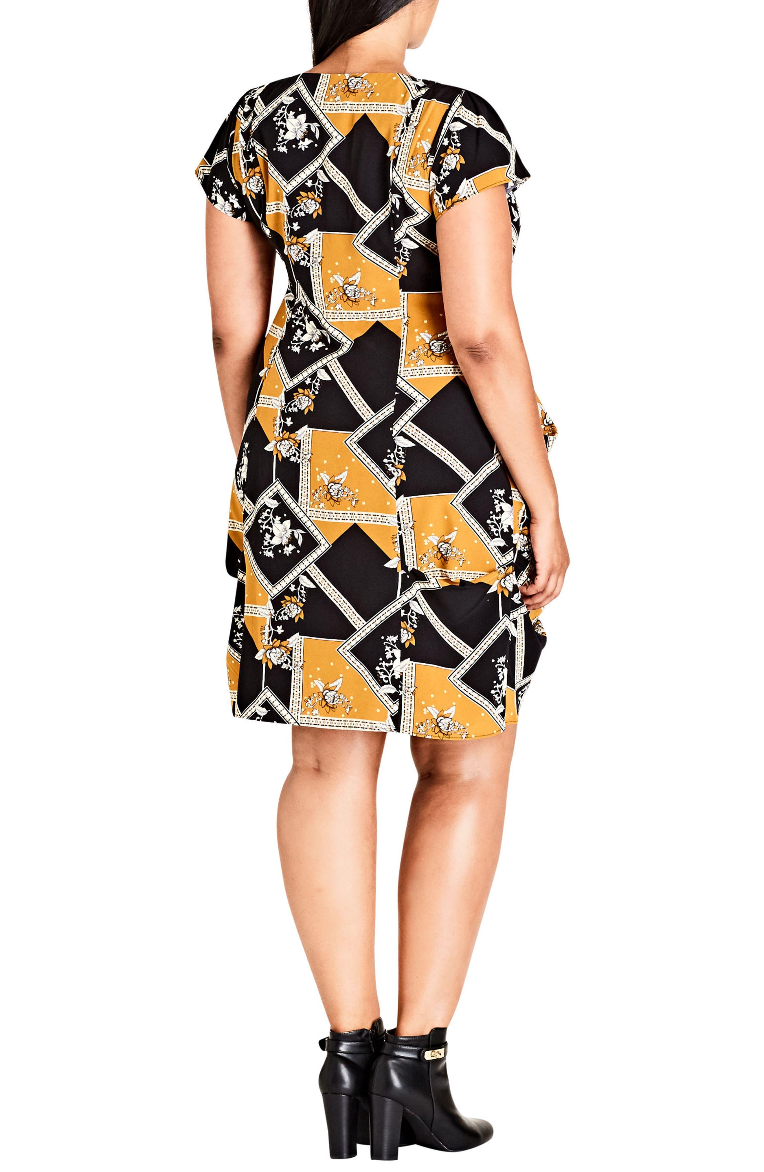 Alternate Image 2  - City Chic Scarf Print Pleat Zip Front Tunic (Plus Size)