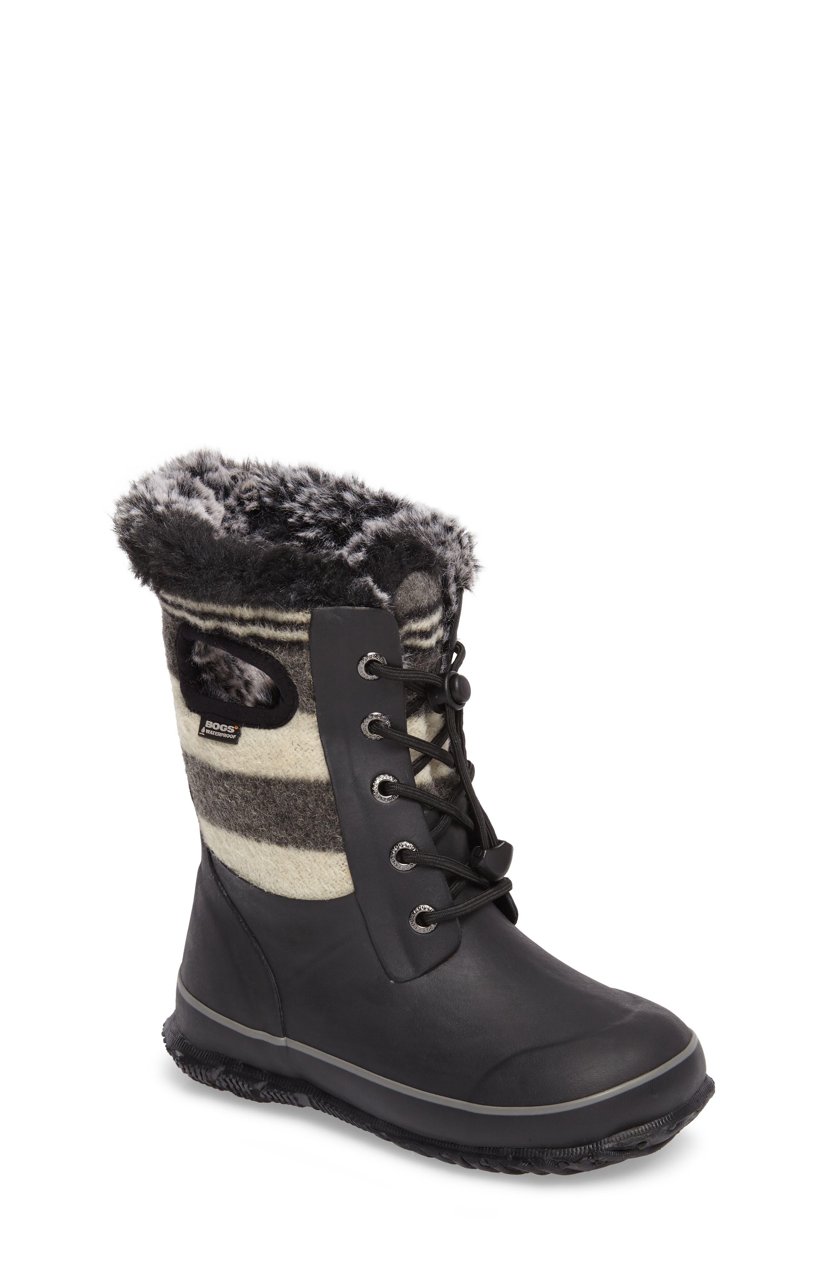 Main Image - Bogs Arcata Stripe Waterproof Insulated Faux Fur Boot (Walker, Toddler, Little Kid & Big Kid)