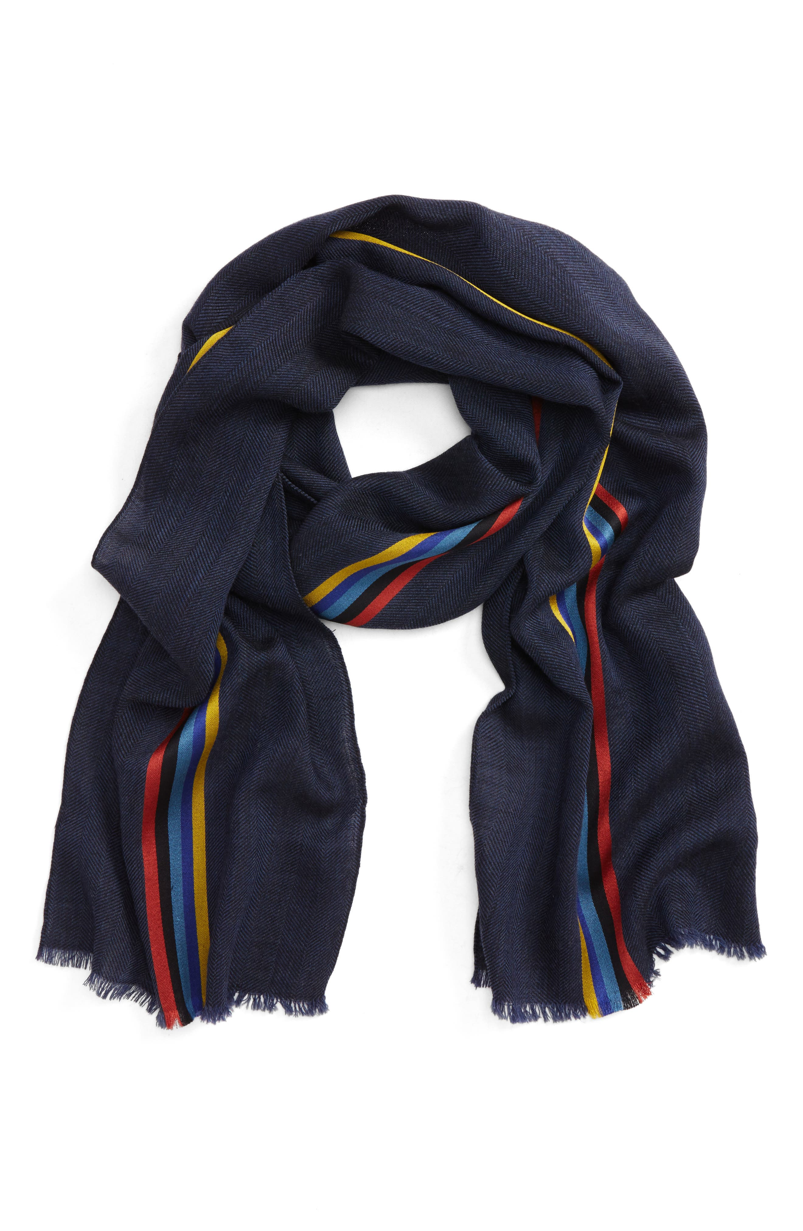 Alternate Image 1 Selected - Paul Smith Stripe Wool Blend Scarf