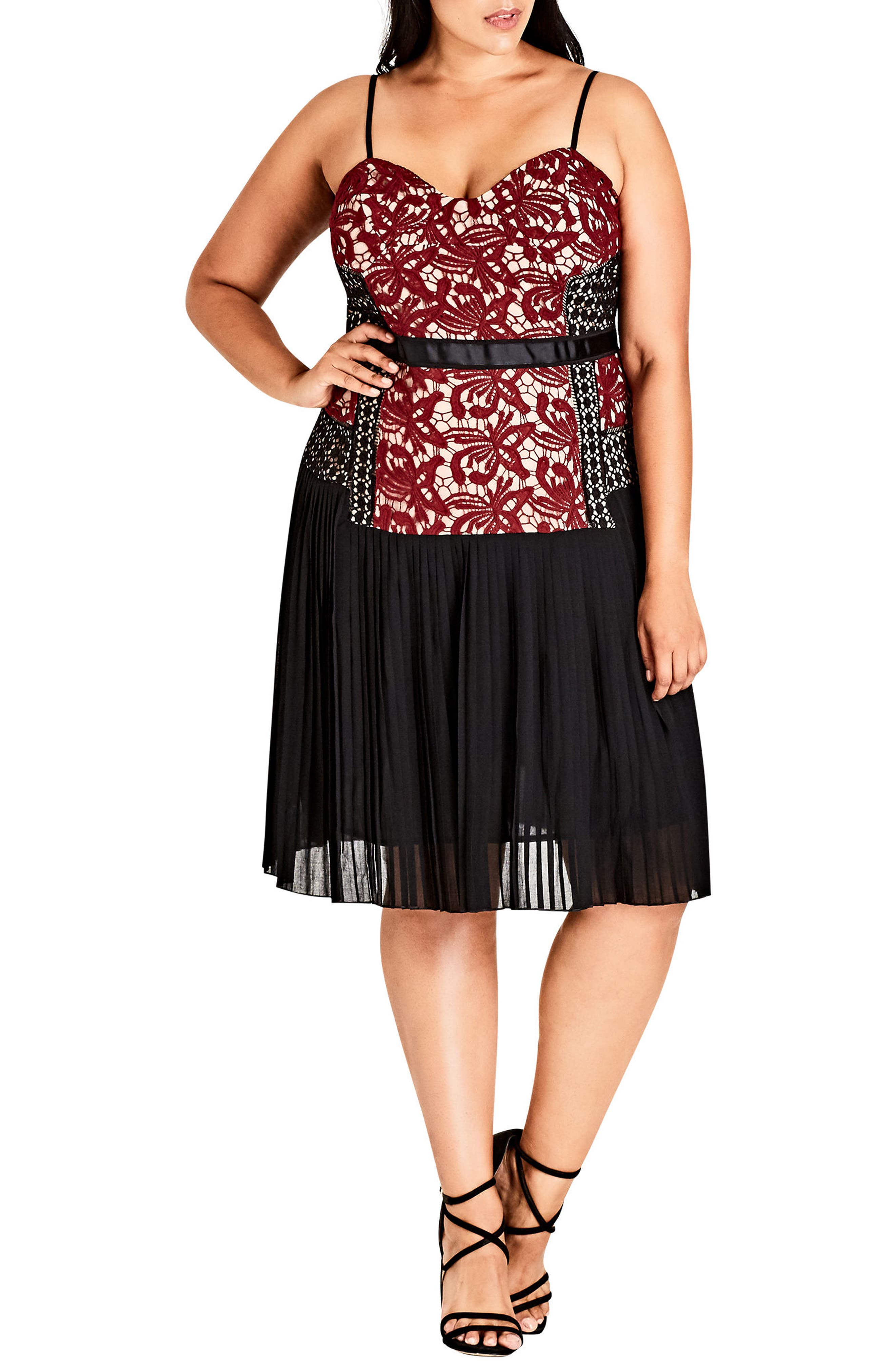 Obey Me Dress,                         Main,                         color, Black/ Ruby