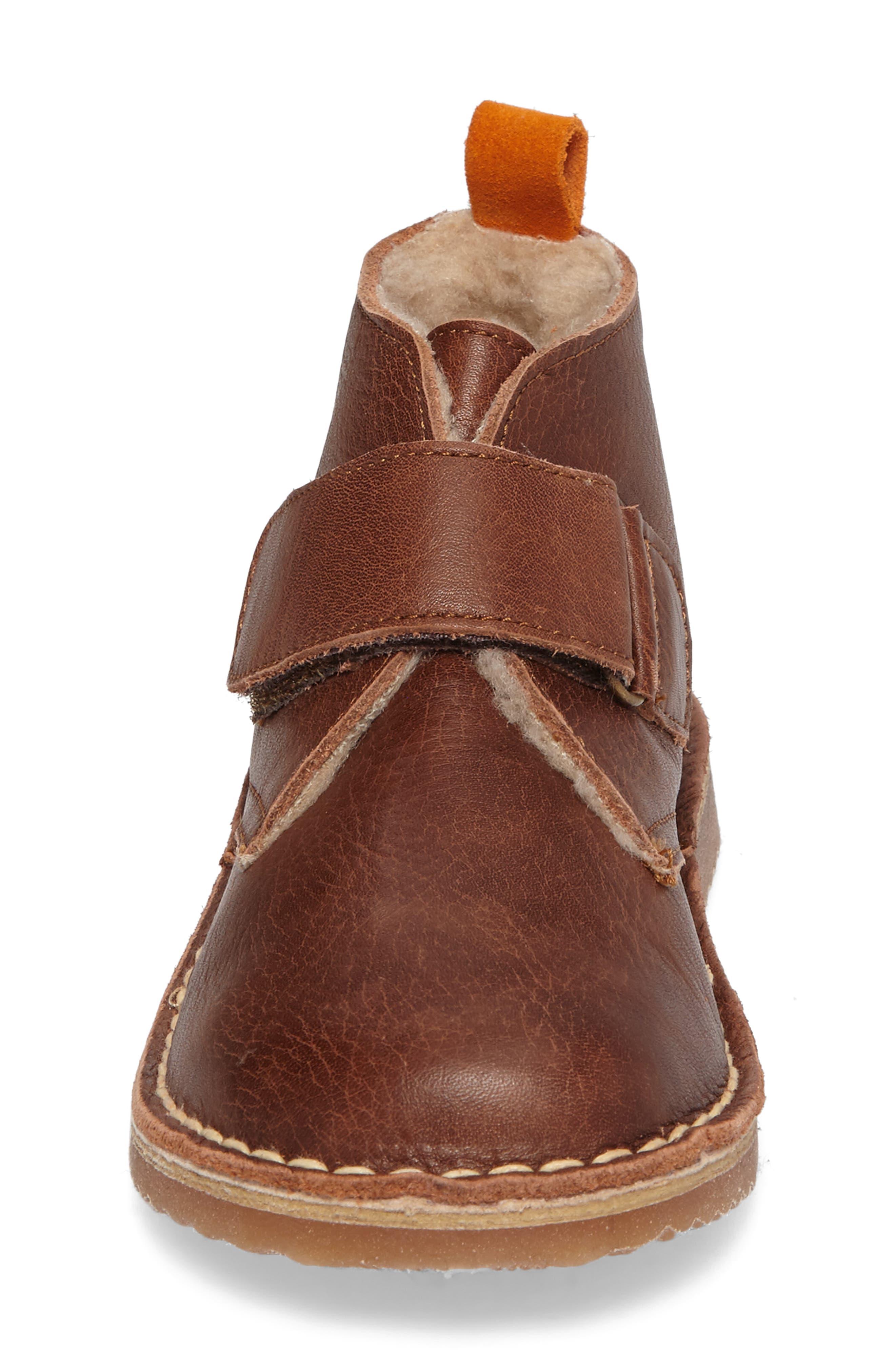 Faux Fur Desert Boot,                             Alternate thumbnail 4, color,                             Brown