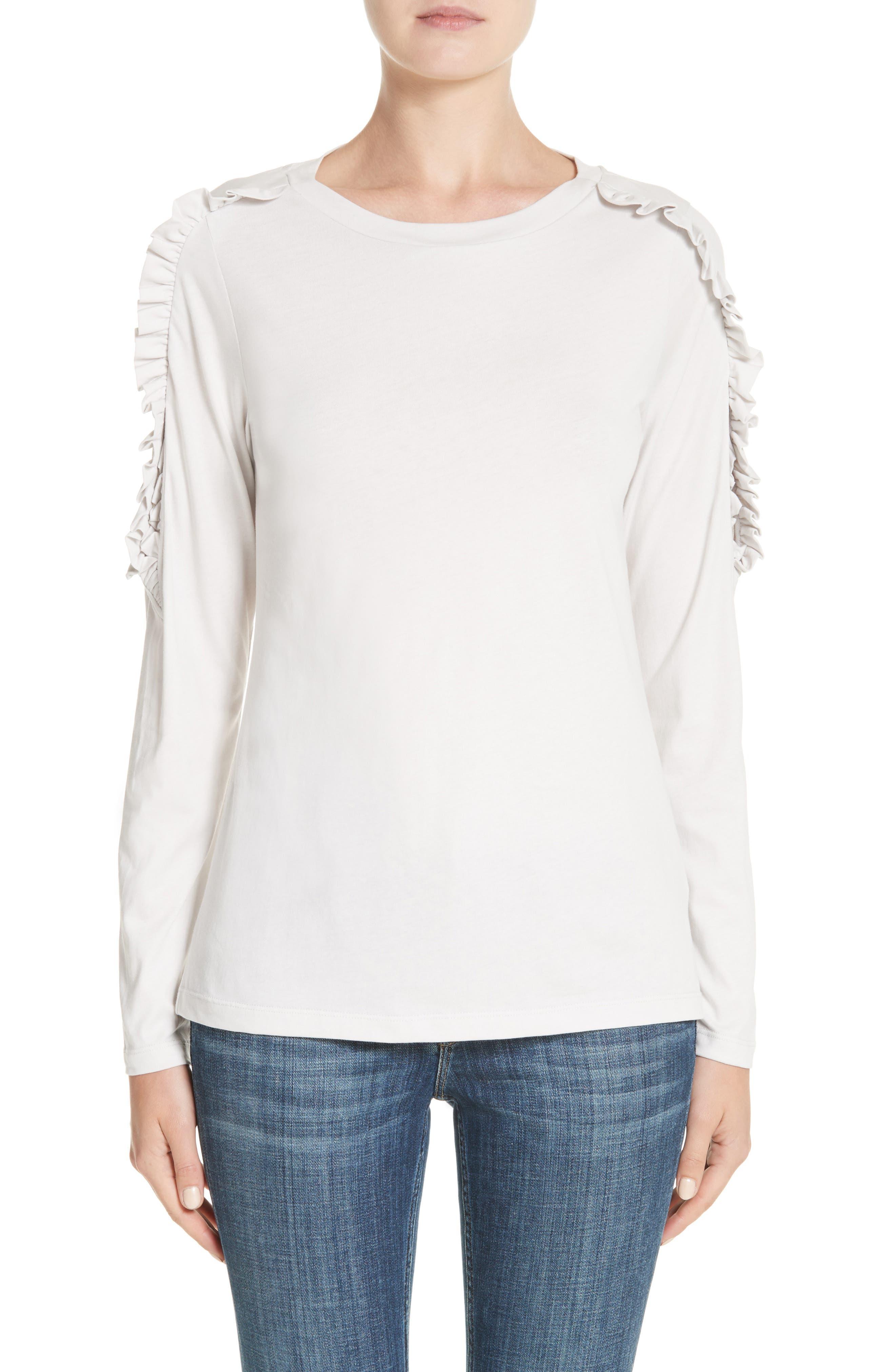 Main Image - Burberry Uima Ruffle Cotton Top
